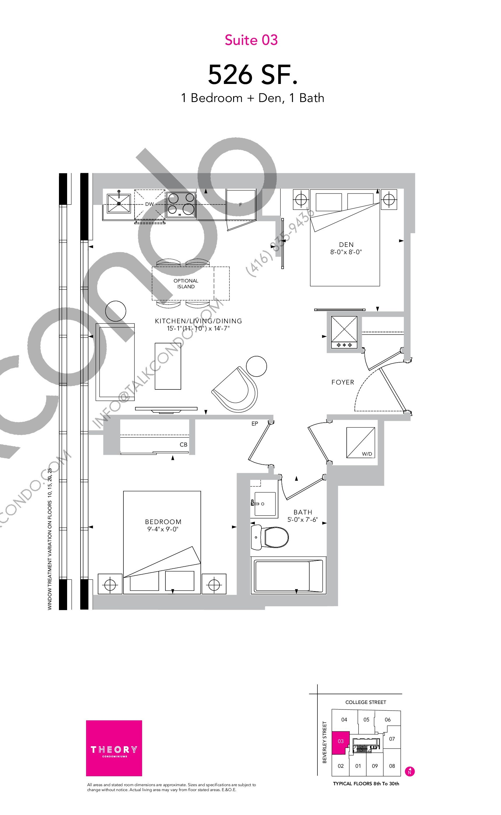 Suite 03 Floor Plan at Theory Condos - 526 sq.ft