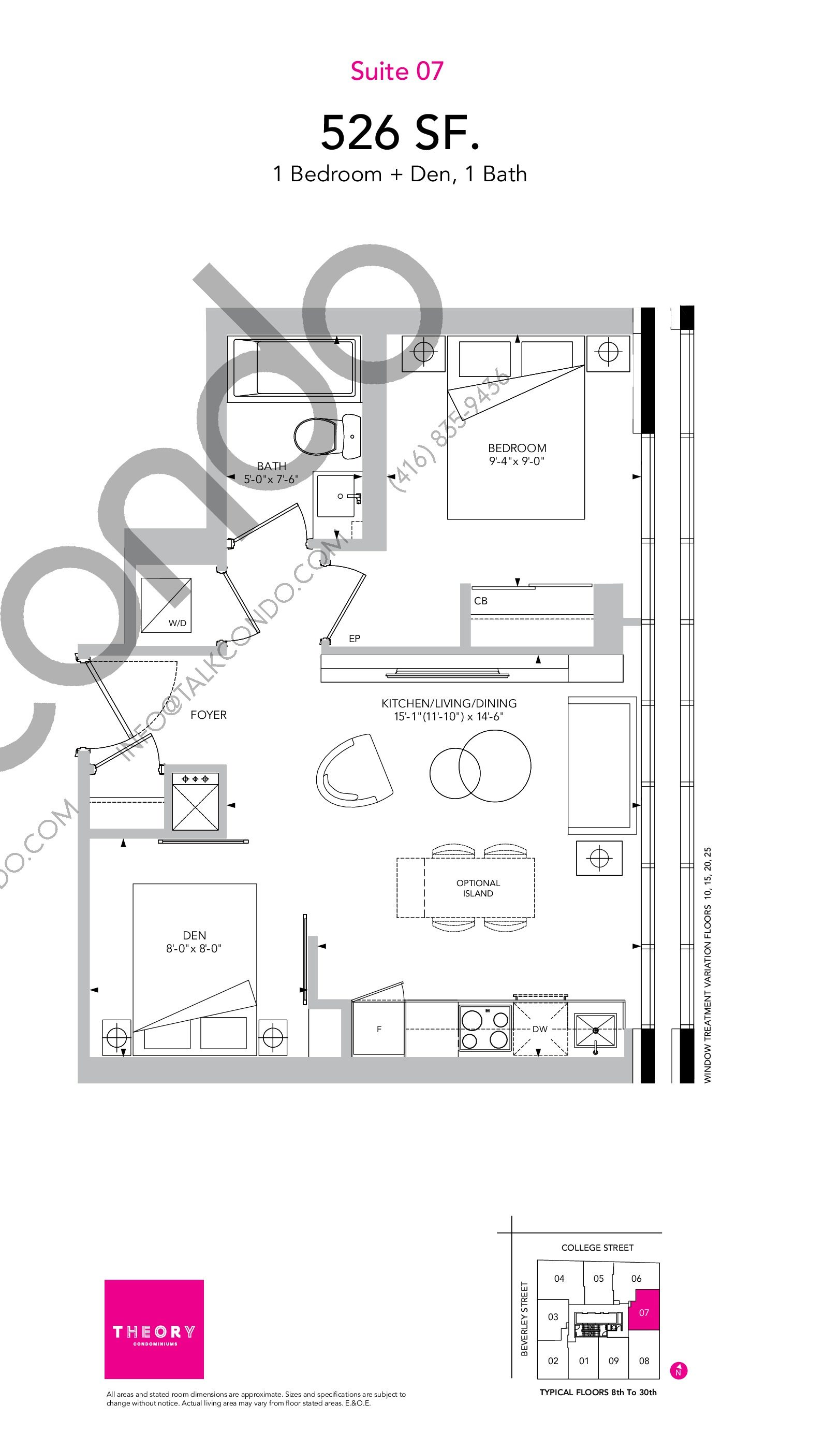 Suite 07 Floor Plan at Theory Condos - 526 sq.ft