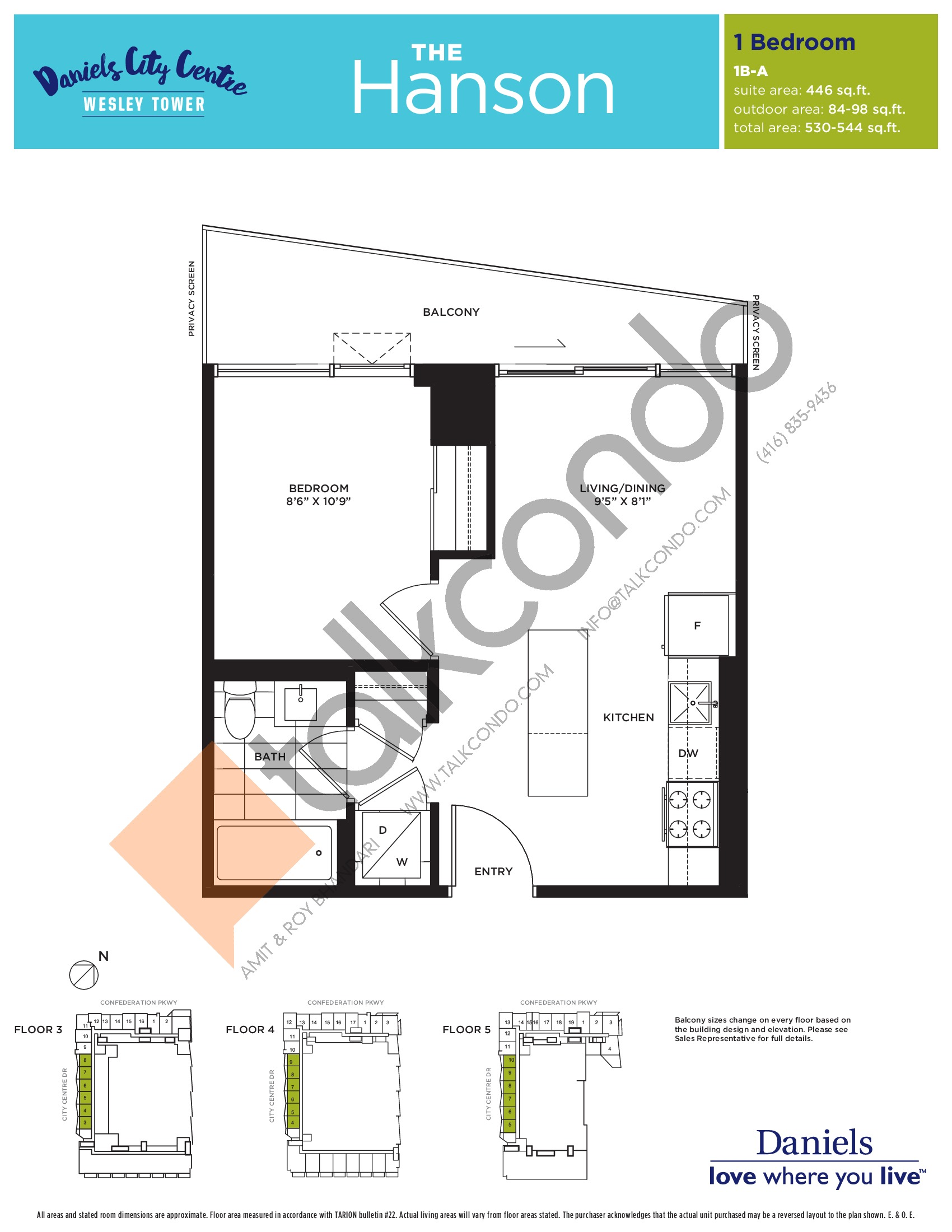 The Hanson Floor Plan at The Wesley Tower at Daniels City Centre Condos - 446 sq.ft