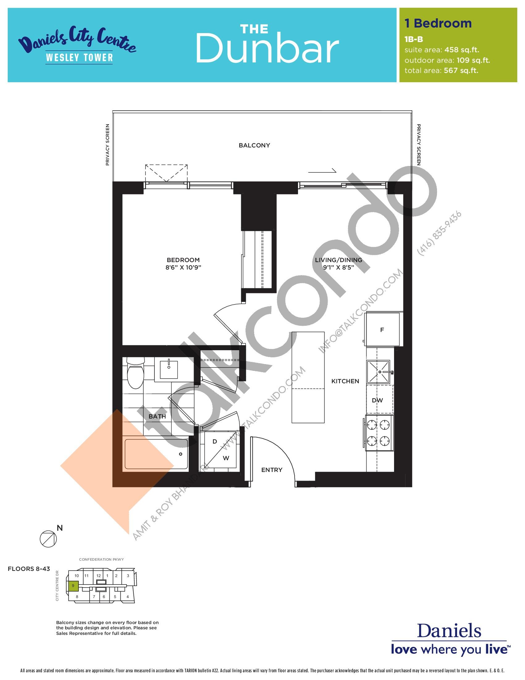 The Dunbar Floor Plan at The Wesley Tower at Daniels City Centre Condos - 458 sq.ft