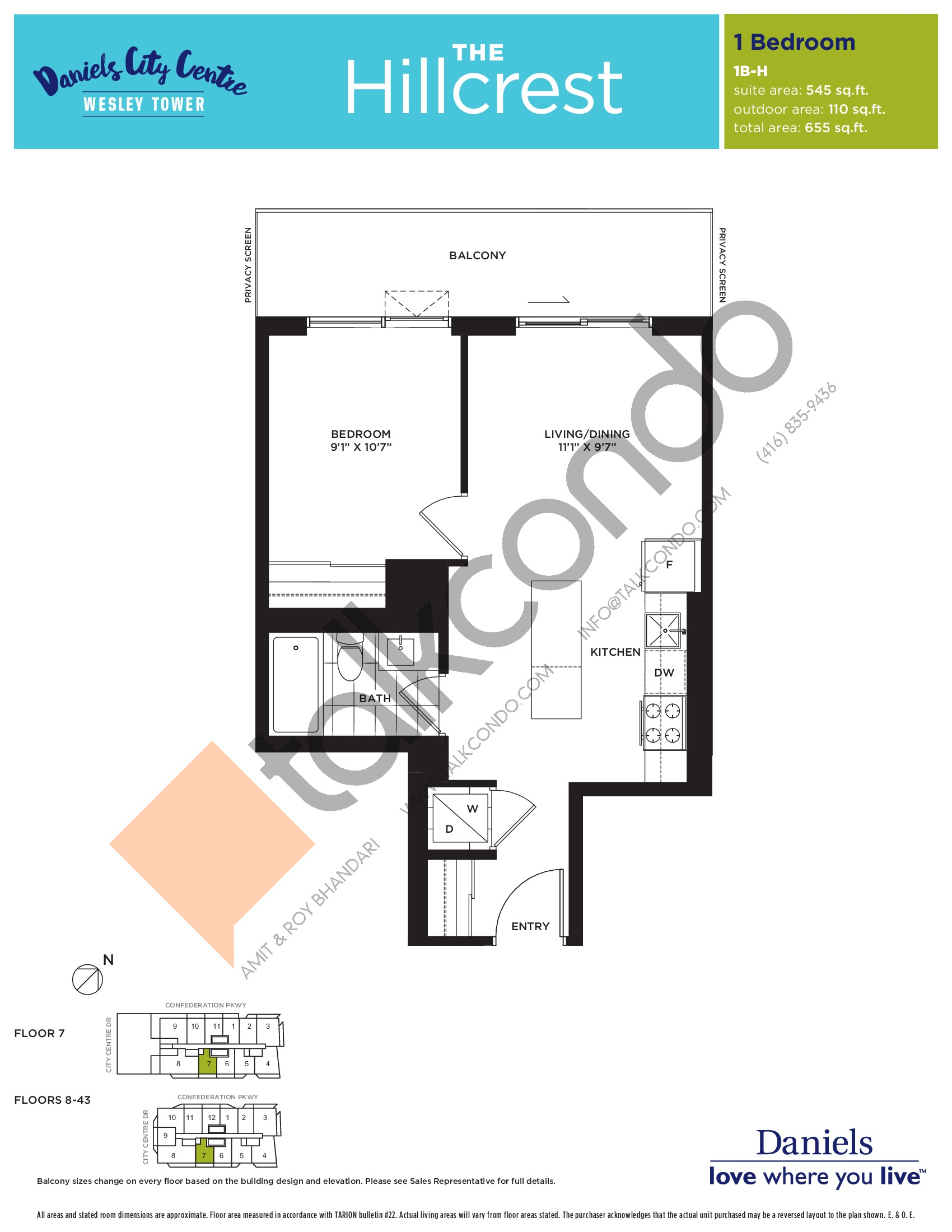 The Hillcrest Floor Plan at The Wesley Tower at Daniels City Centre Condos - 545 sq.ft