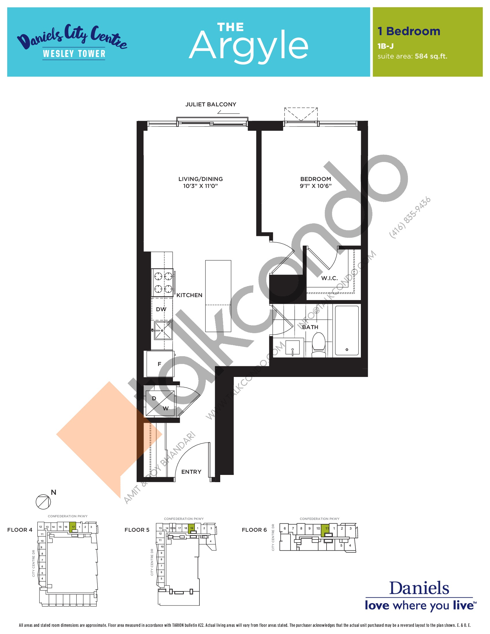 The Argyle Floor Plan at The Wesley Tower at Daniels City Centre Condos - 584 sq.ft