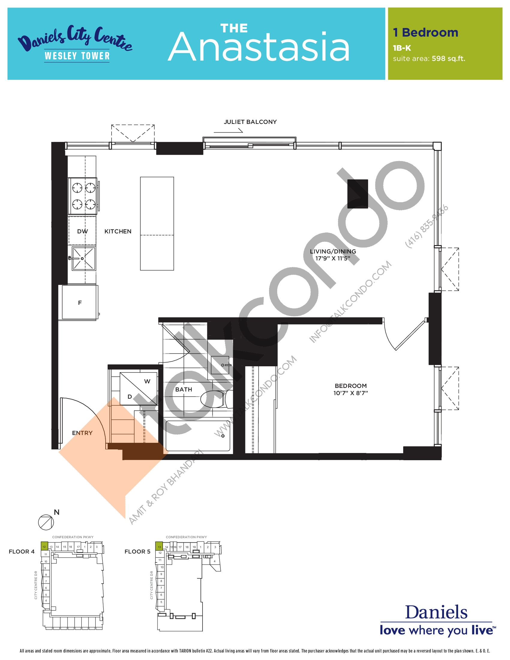 The Anastasia Floor Plan at The Wesley Tower at Daniels City Centre Condos - 598 sq.ft
