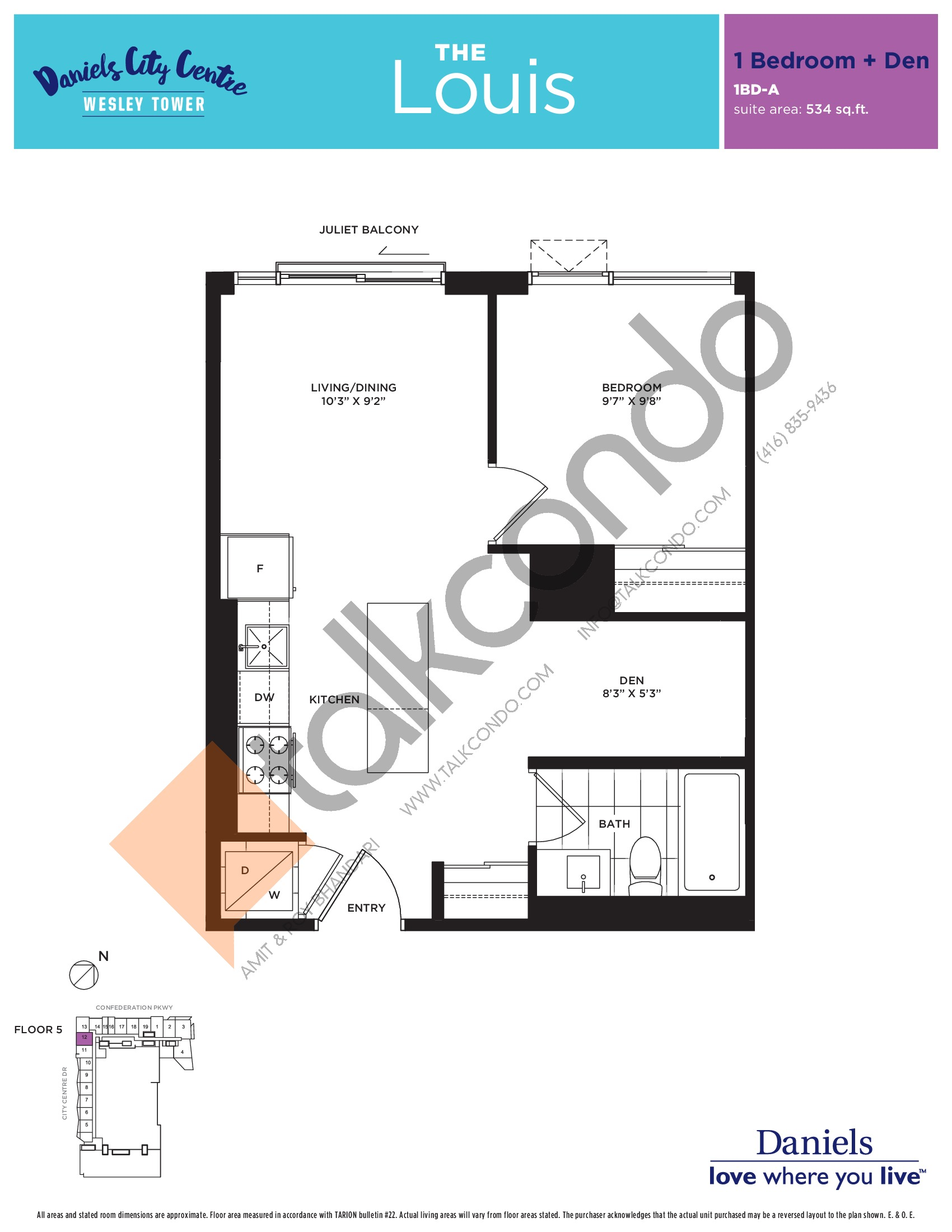 The Louis Floor Plan at The Wesley Tower at Daniels City Centre Condos - 534 sq.ft