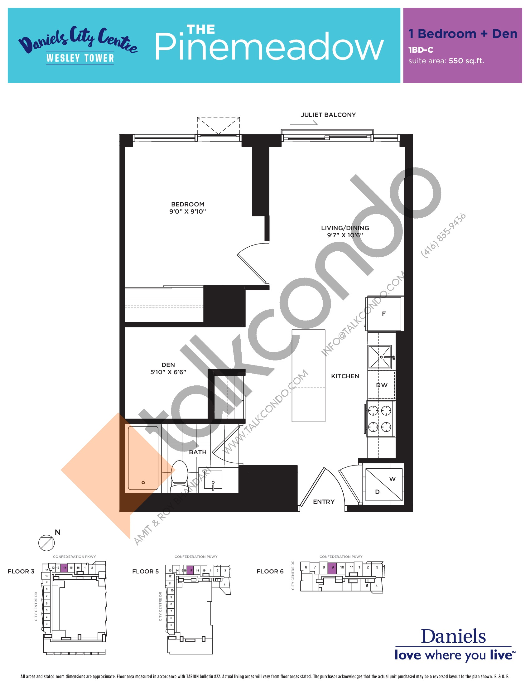 The Pinemeadow Floor Plan at The Wesley Tower at Daniels City Centre Condos - 550 sq.ft