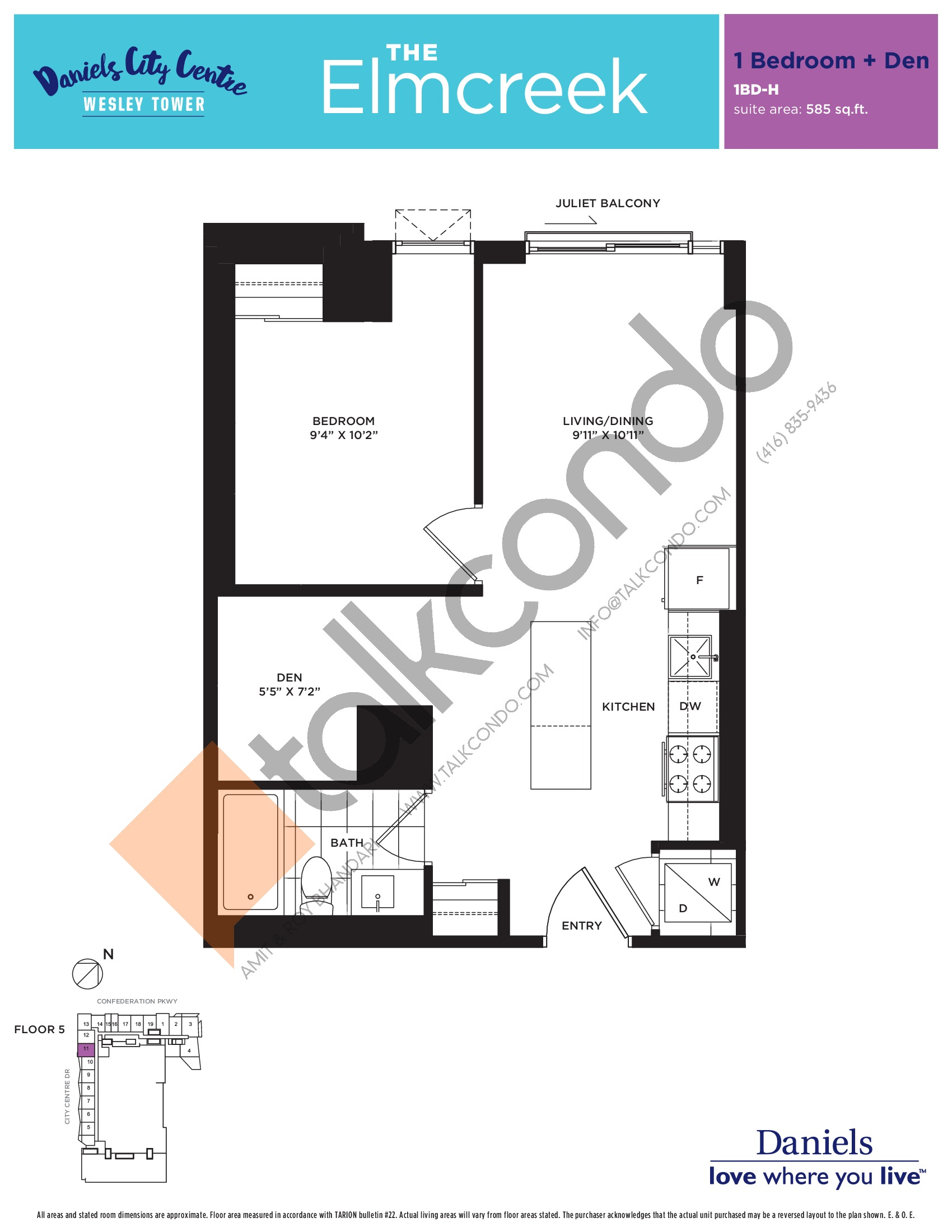 The Elmcreek Floor Plan at The Wesley Tower at Daniels City Centre Condos - 585 sq.ft
