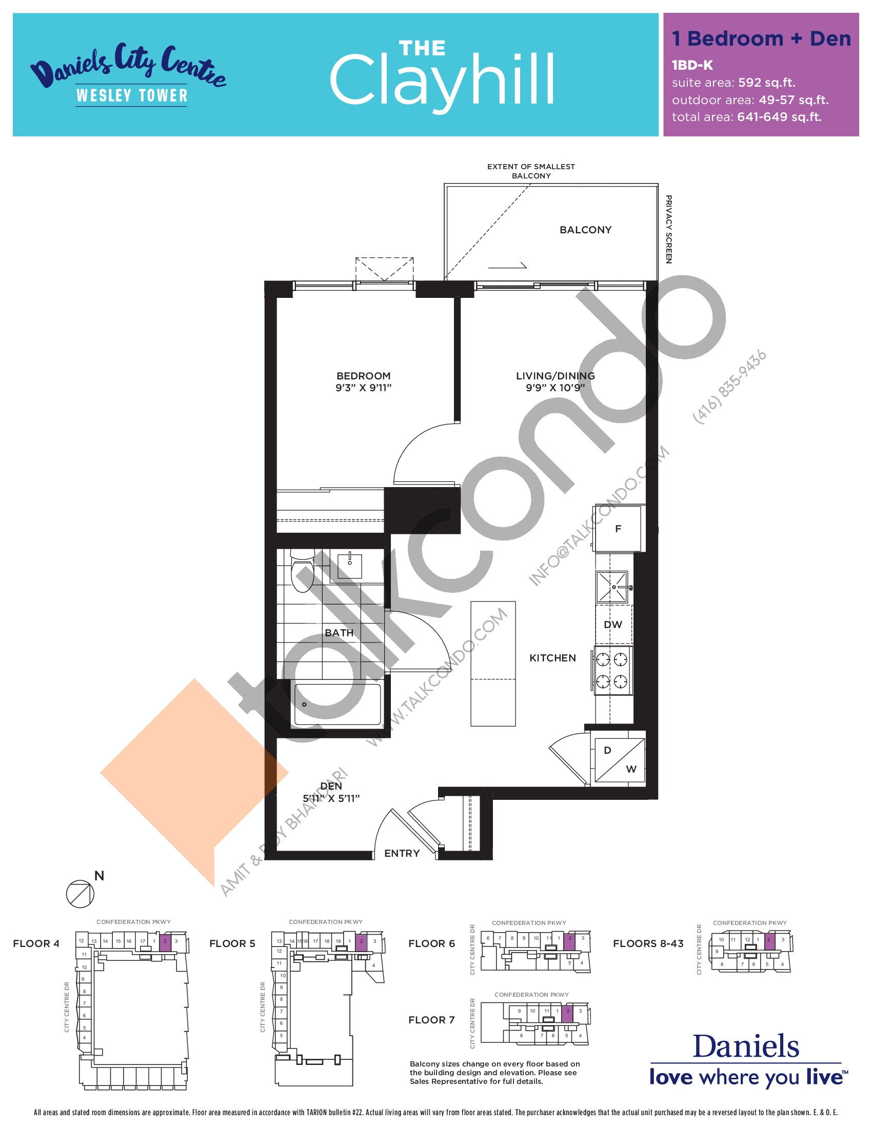 The Clayhill Floor Plan at The Wesley Tower at Daniels City Centre Condos - 592 sq.ft