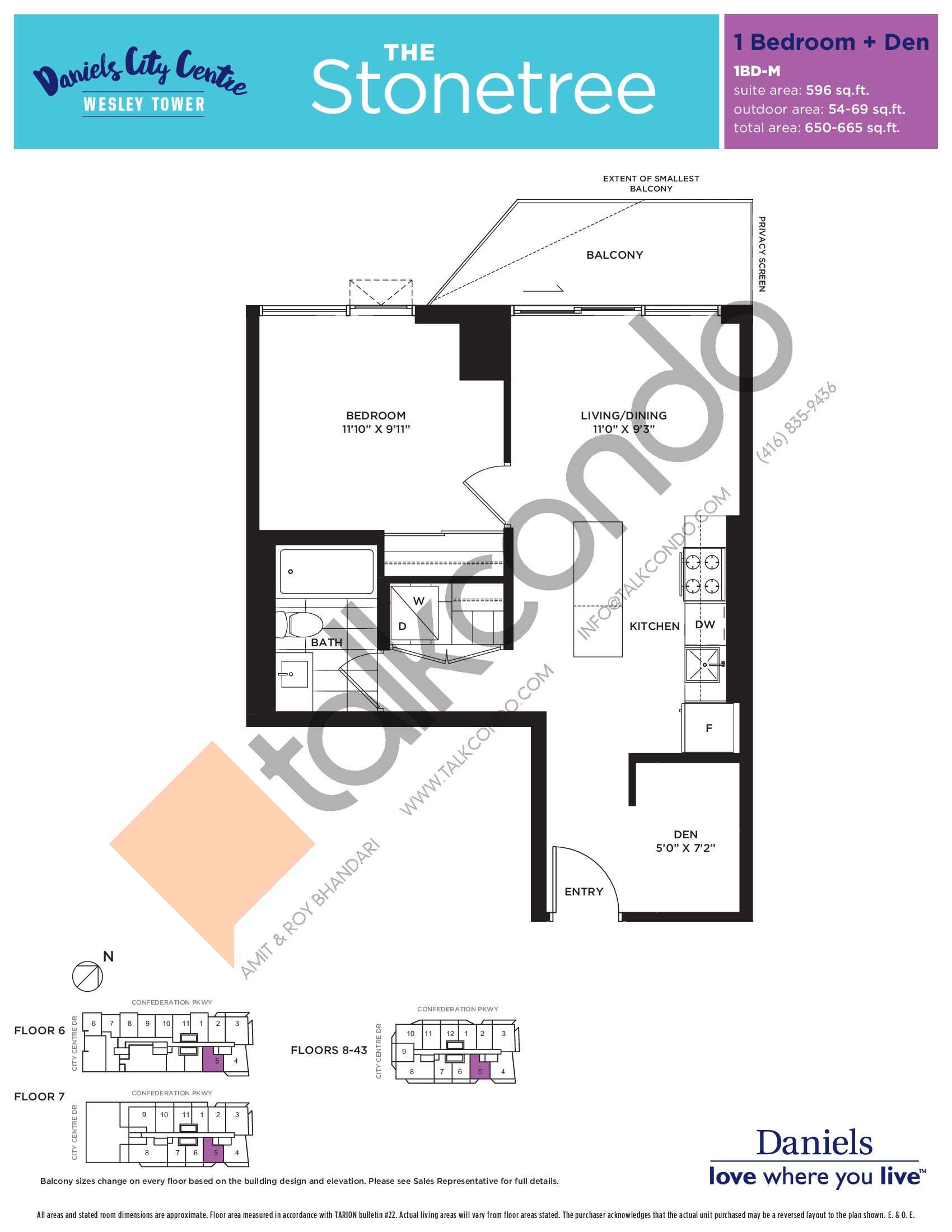 The Stonetree Floor Plan at The Wesley Tower at Daniels City Centre Condos - 596 sq.ft