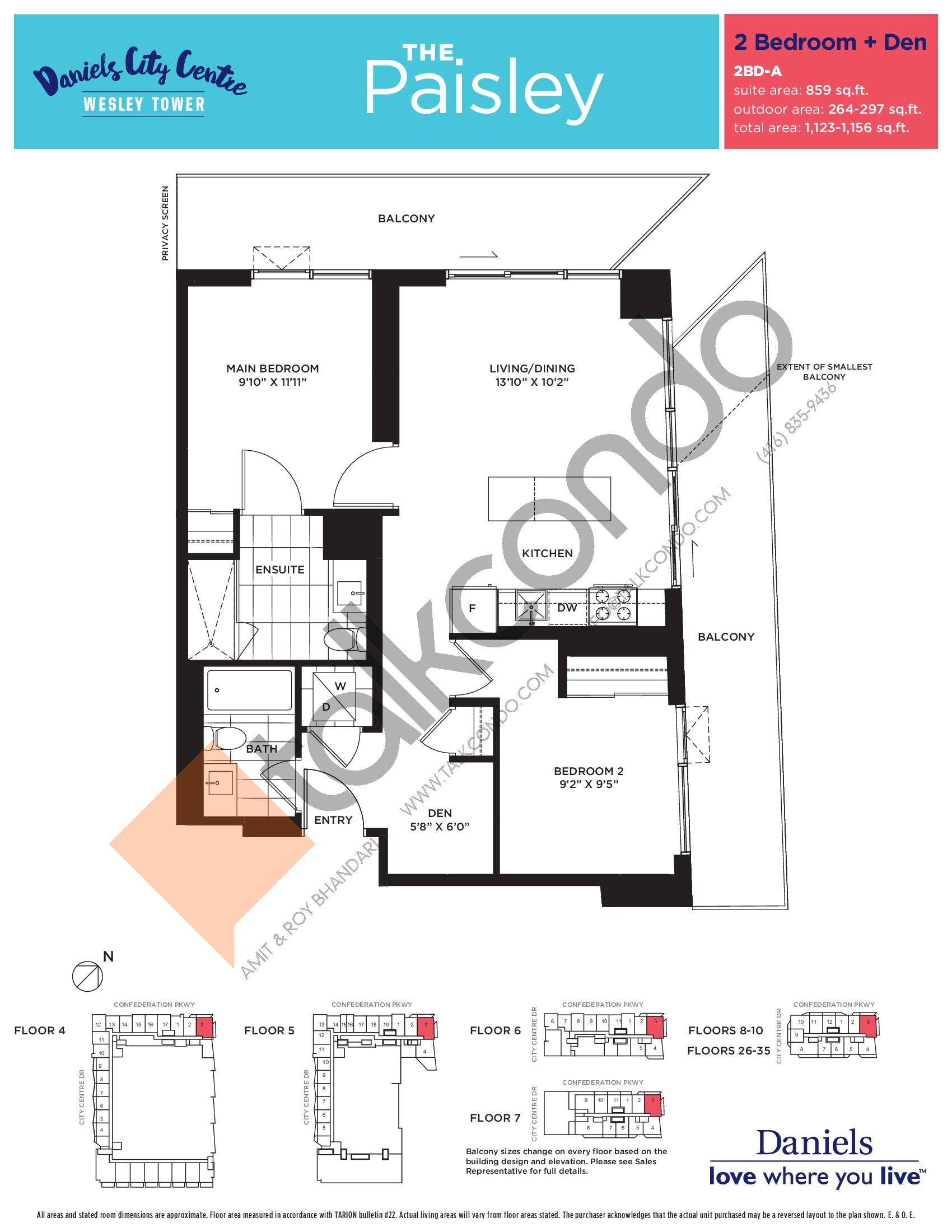 The Paisley Floor Plan at The Wesley Tower at Daniels City Centre Condos - 859 sq.ft