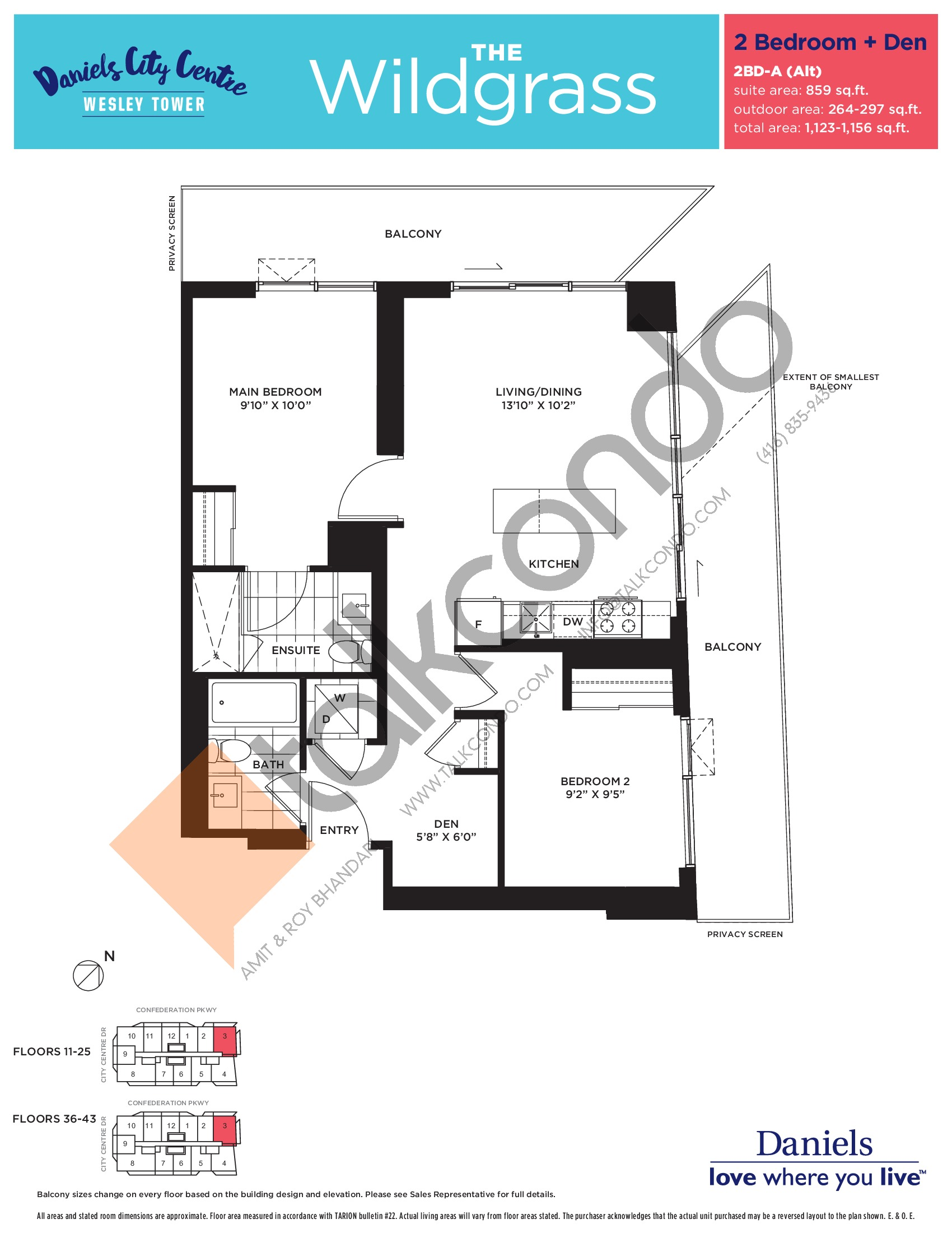 The Wildgrass Floor Plan at The Wesley Tower at Daniels City Centre Condos - 859 sq.ft