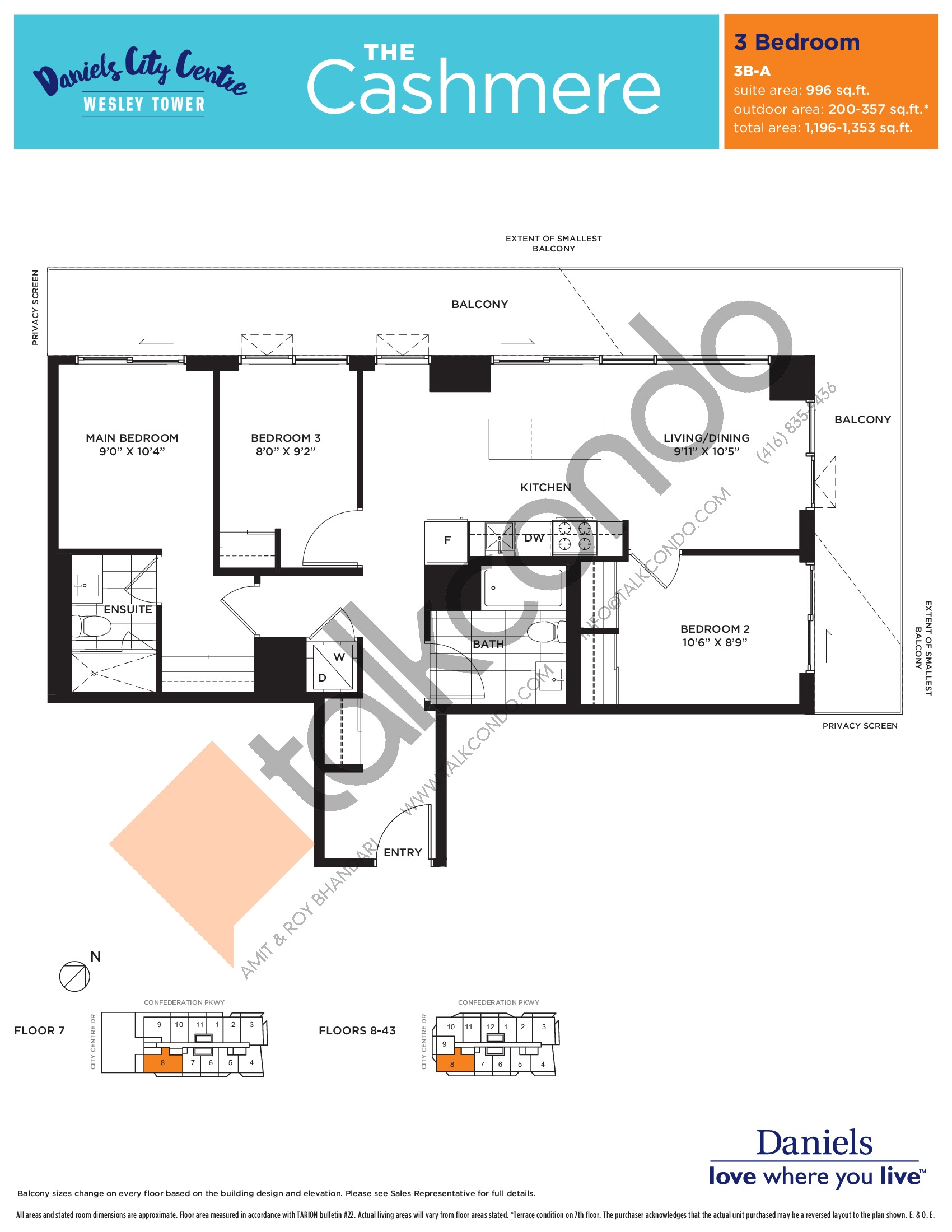 The Cashmere Floor Plan at The Wesley Tower at Daniels City Centre Condos - 996 sq.ft