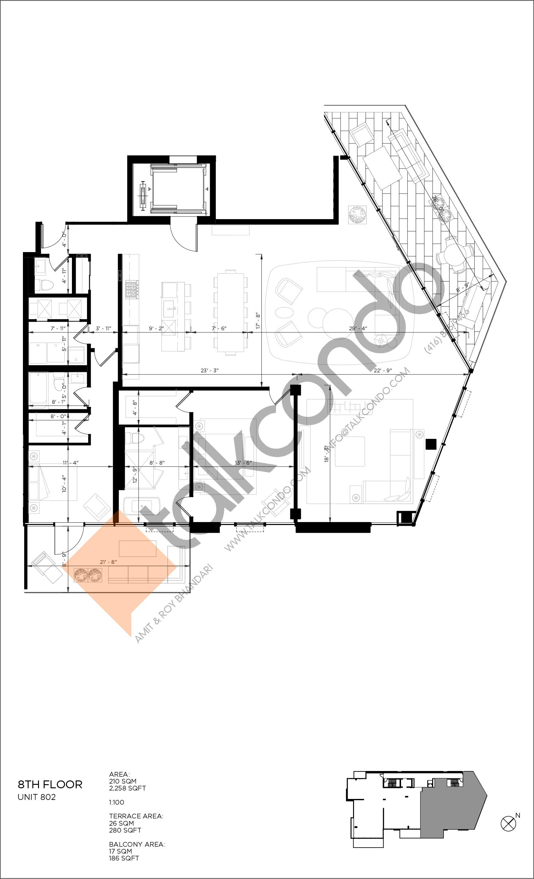 Unit 802 Floor Plan at 346 Davenport Condos - 2258 sq.ft