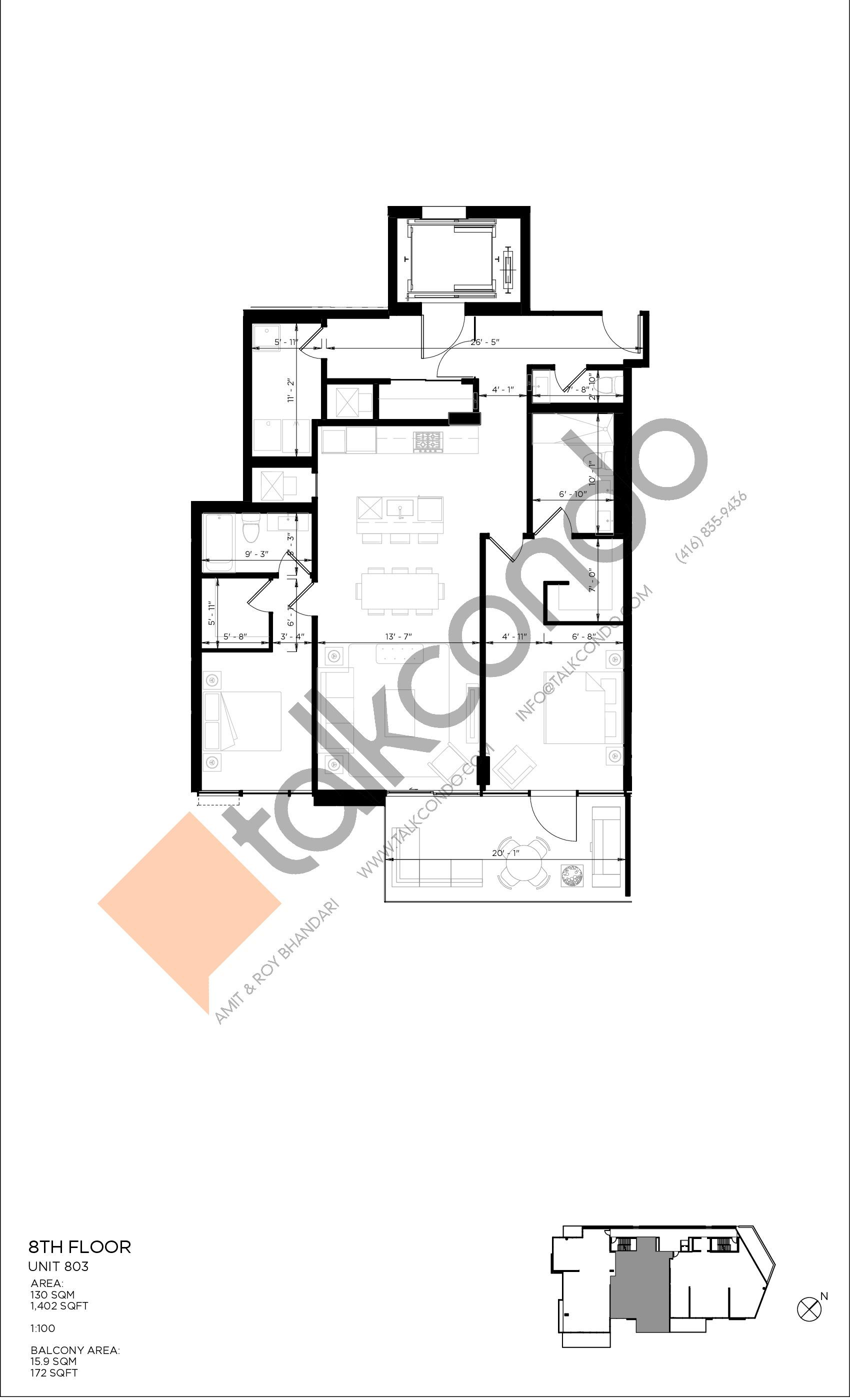 Unit 803 Floor Plan at 346 Davenport Condos - 1402 sq.ft