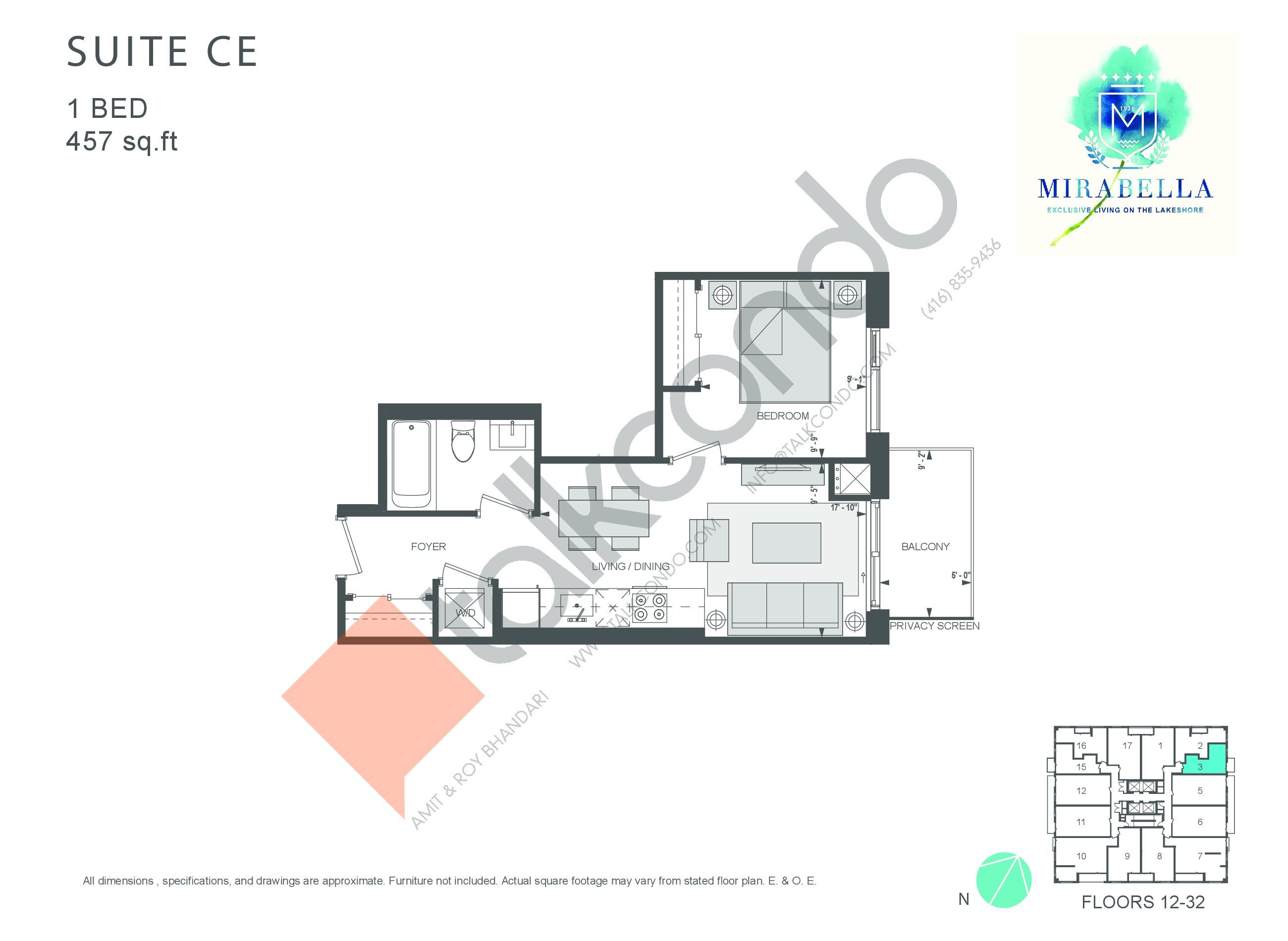 Suite CE Floor Plan at Mirabella Luxury Condos East Tower - 457 sq.ft