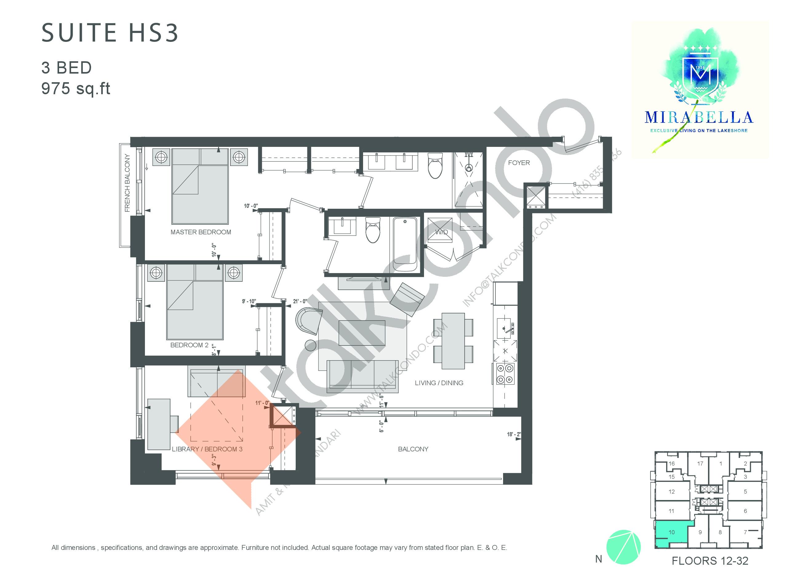 Suite HS3 Floor Plan at Mirabella Luxury Condos East Tower - 975 sq.ft