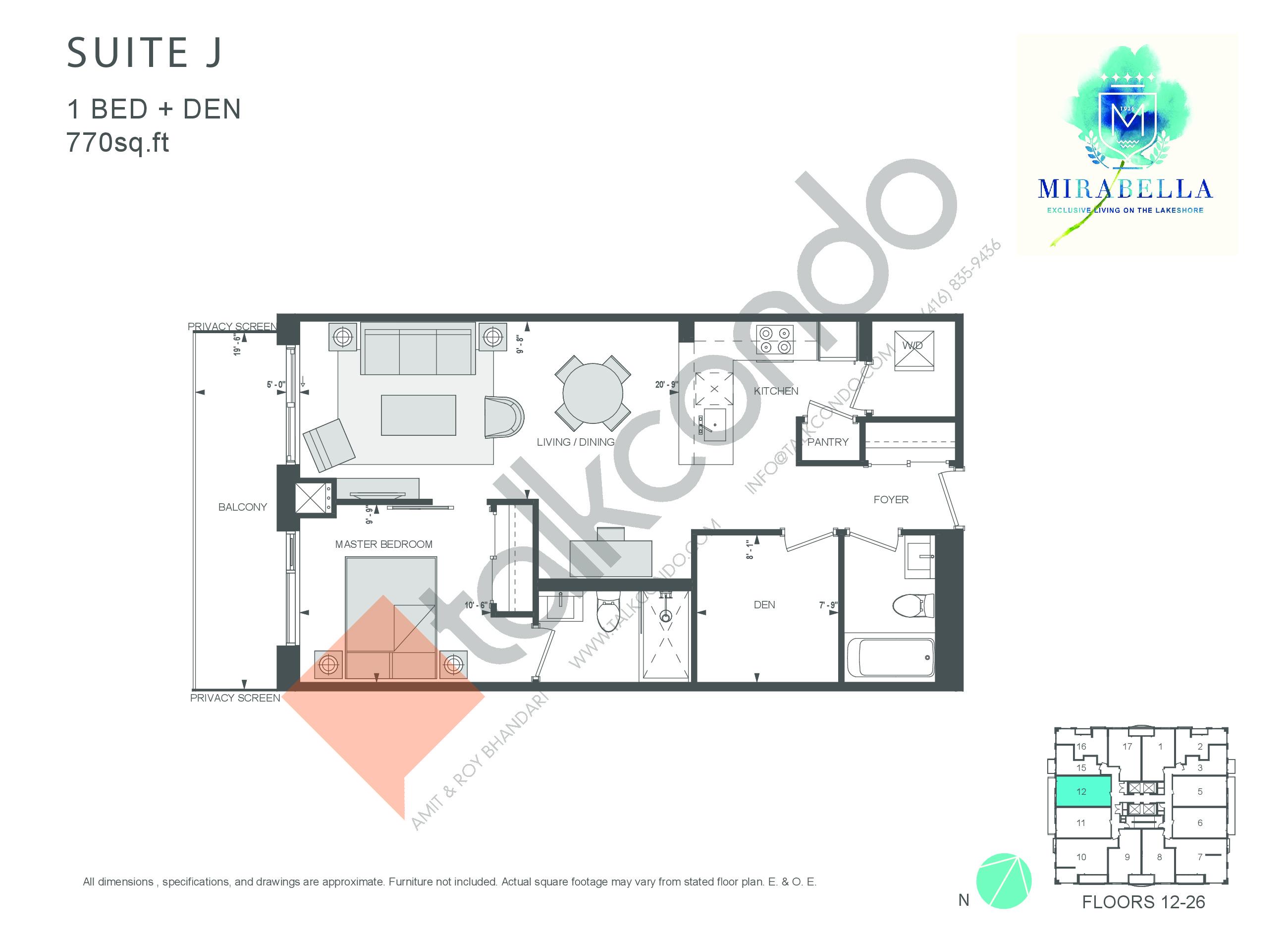 Suite J Floor Plan at Mirabella Luxury Condos East Tower - 770 sq.ft