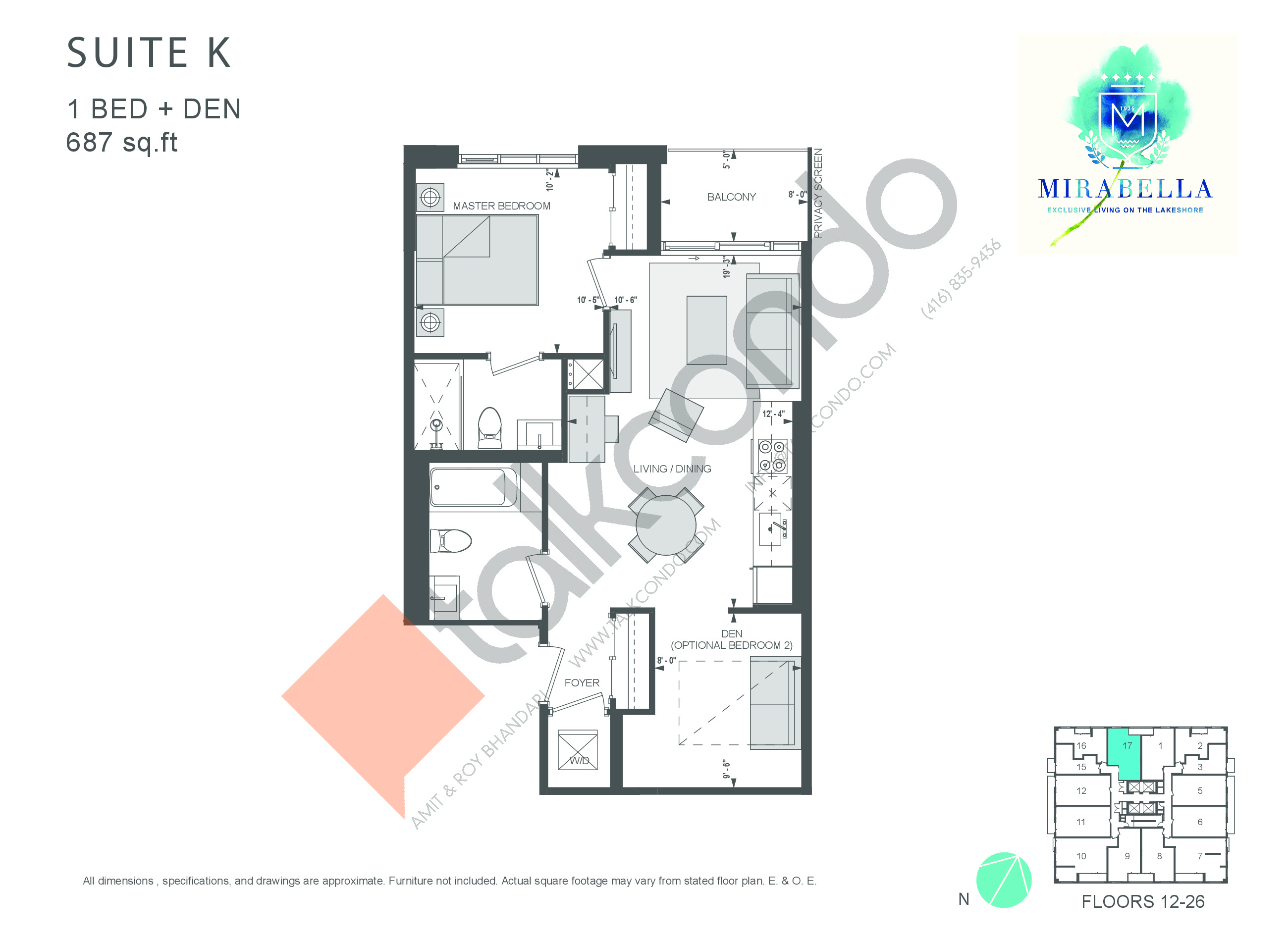 Suite K Floor Plan at Mirabella Luxury Condos East Tower - 687 sq.ft
