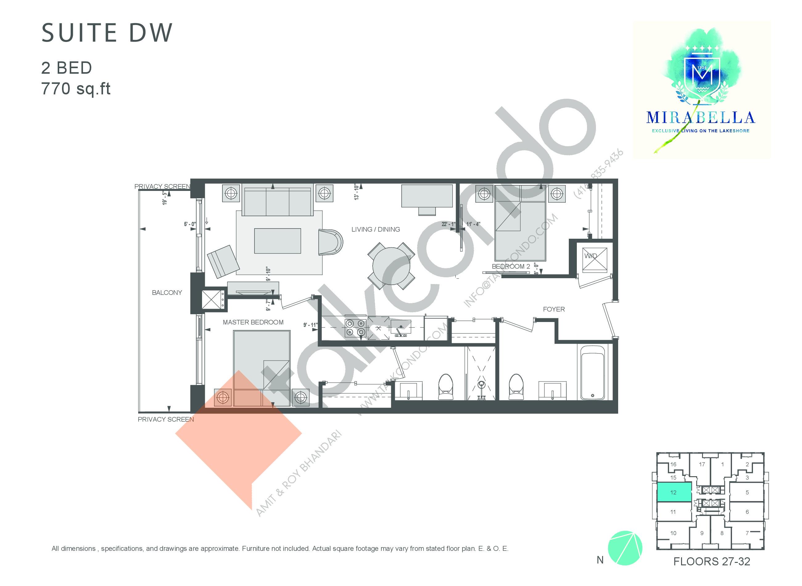 Suite DW Floor Plan at Mirabella Luxury Condos East Tower - 770 sq.ft