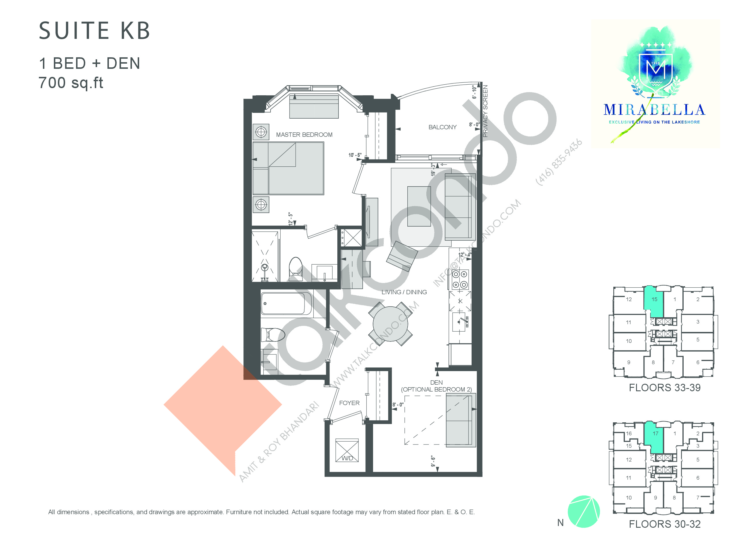 Suite KB Floor Plan at Mirabella Luxury Condos East Tower - 700 sq.ft
