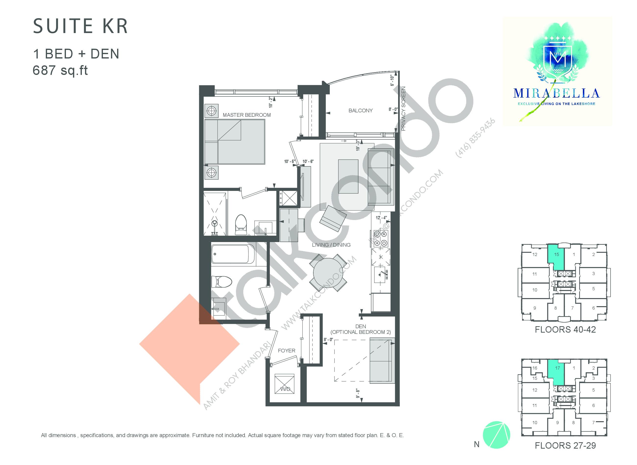 Suite KR Floor Plan at Mirabella Luxury Condos East Tower - 687 sq.ft