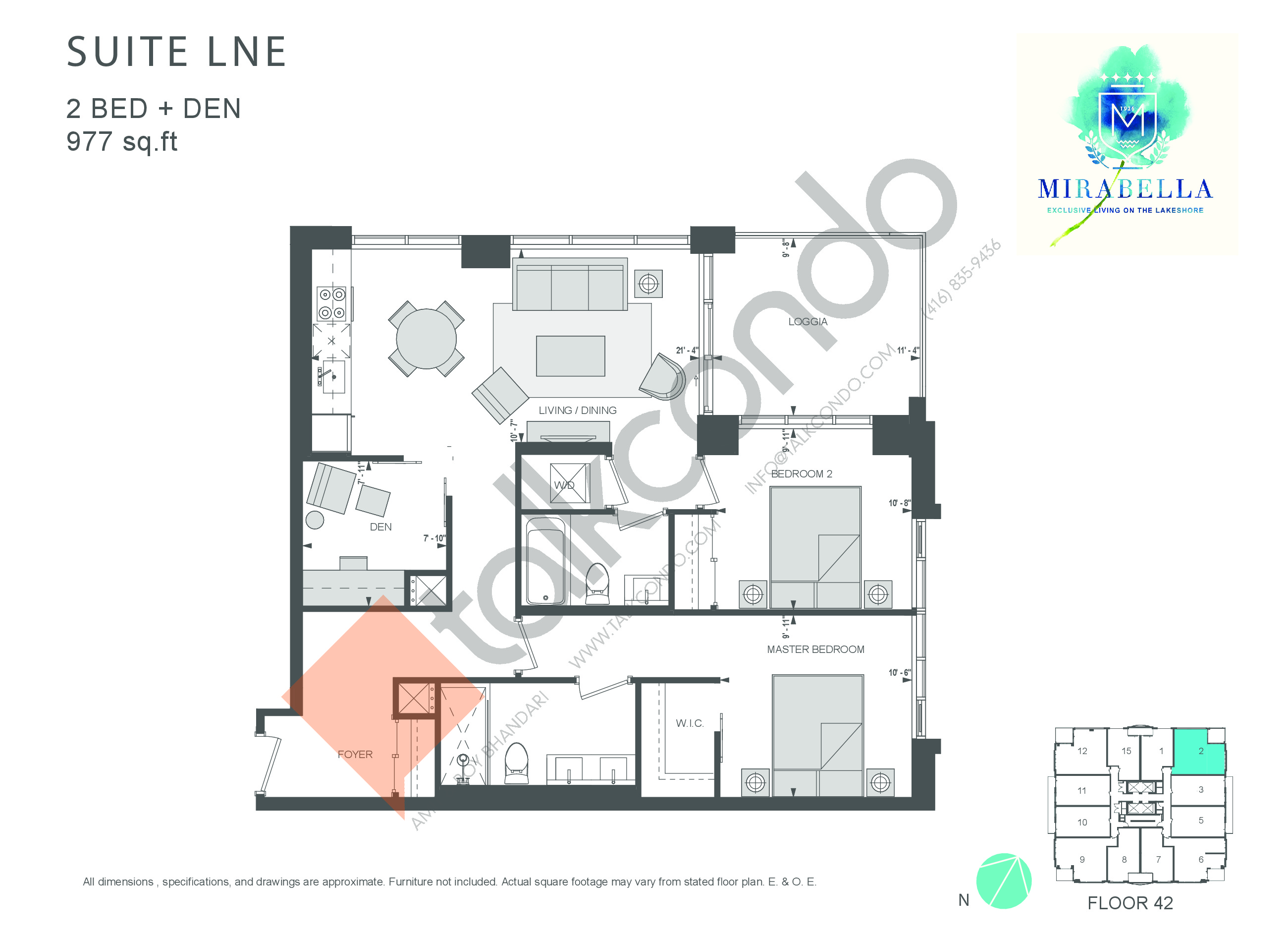 Suite LNE Floor Plan at Mirabella Luxury Condos East Tower - 977 sq.ft