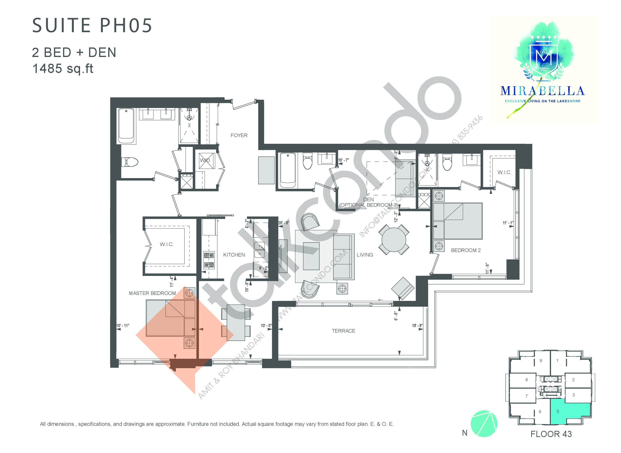 Suite PH05 Floor Plan at Mirabella Luxury Condos East Tower - 1485 sq.ft