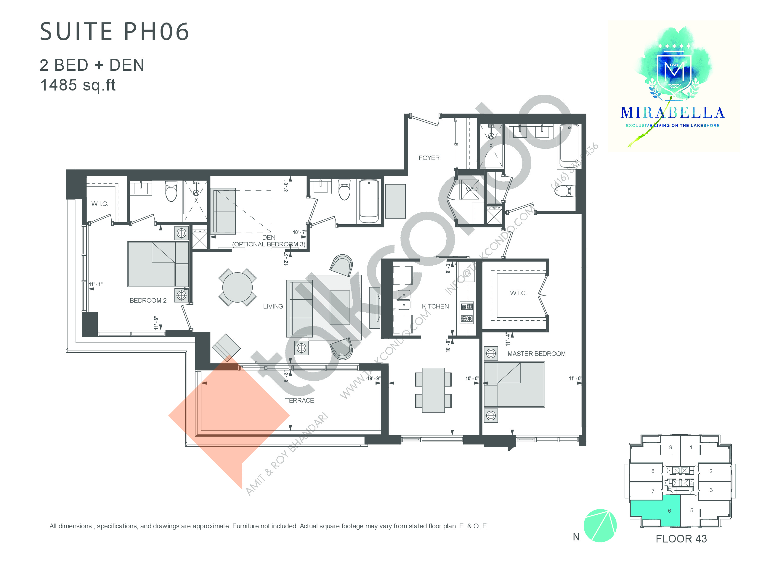 Suite PH06 Floor Plan at Mirabella Luxury Condos East Tower - 1485 sq.ft