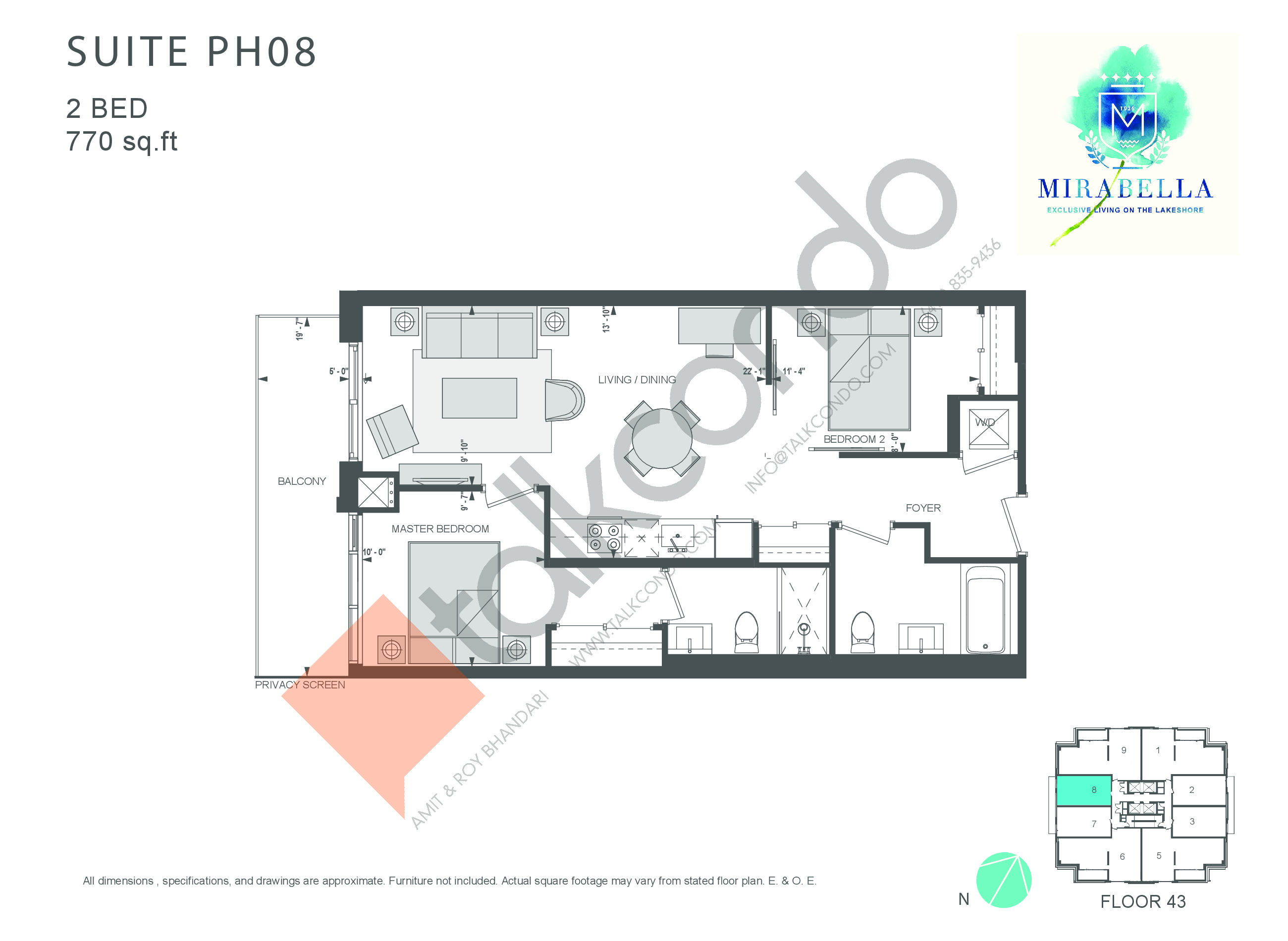 Suite PH08 Floor Plan at Mirabella Luxury Condos East Tower - 770 sq.ft
