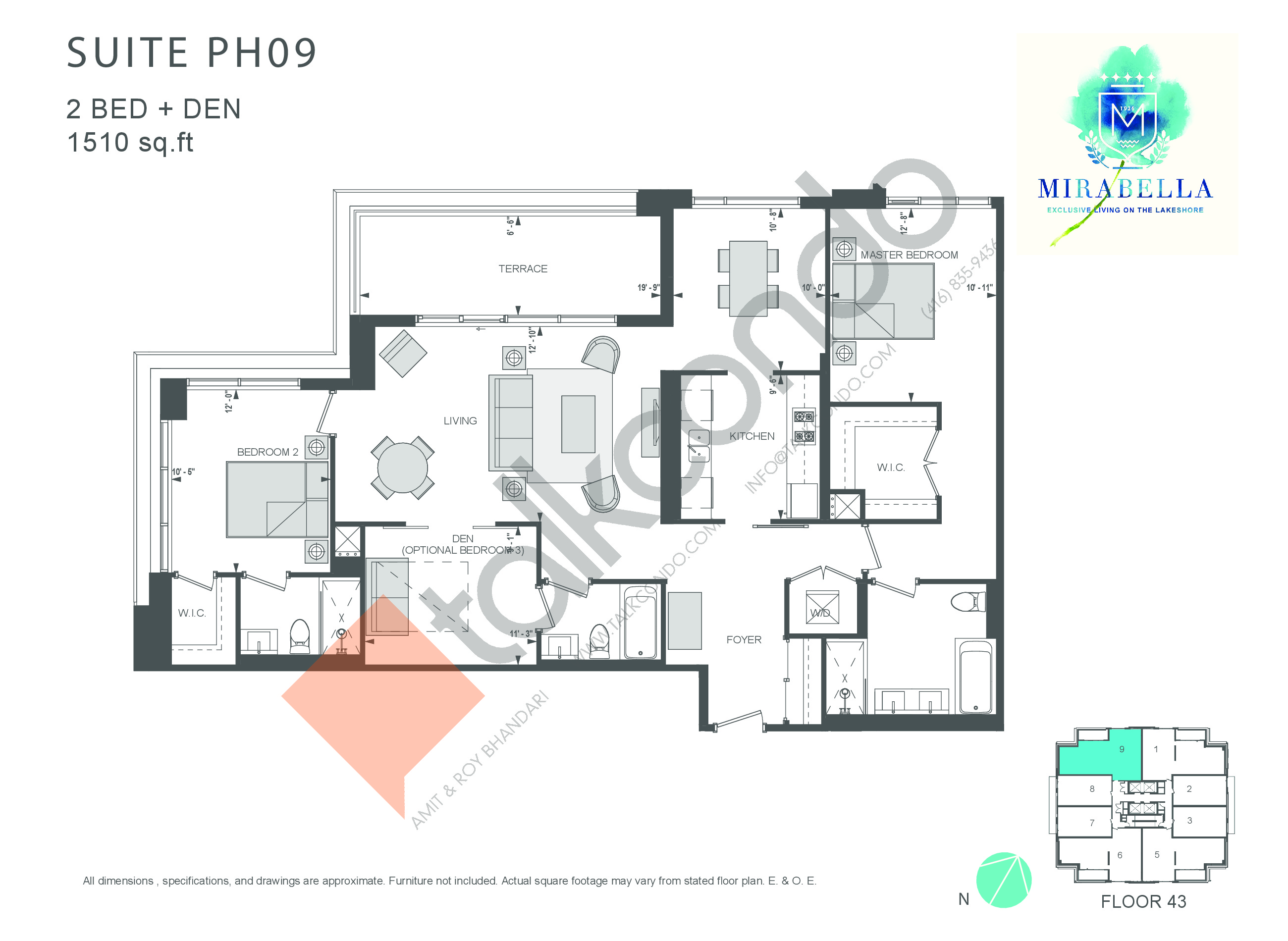 Suite PH09 Floor Plan at Mirabella Luxury Condos East Tower - 1510 sq.ft