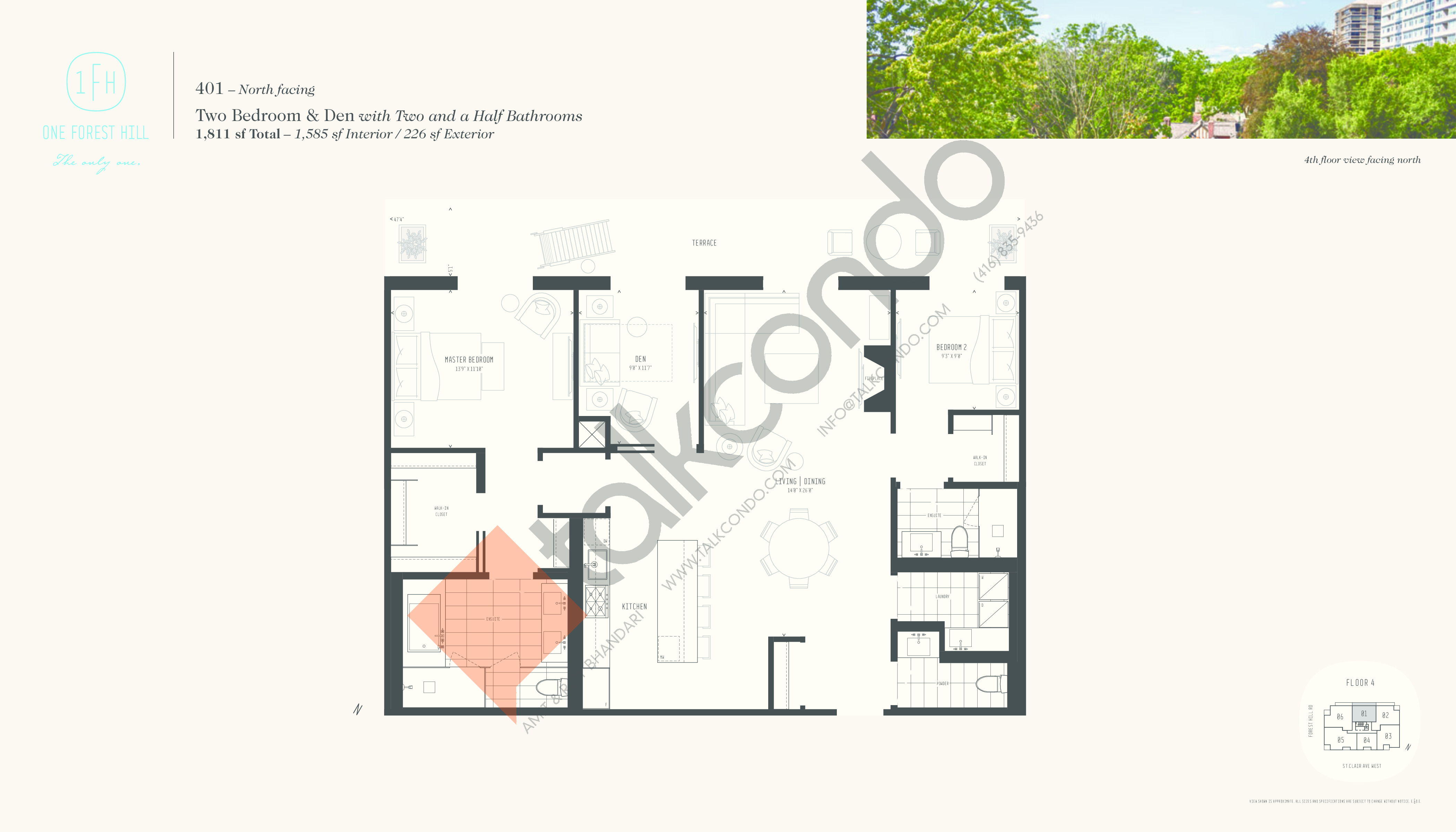 401 Floor Plan at One Forest Hill Condos - 1585 sq.ft