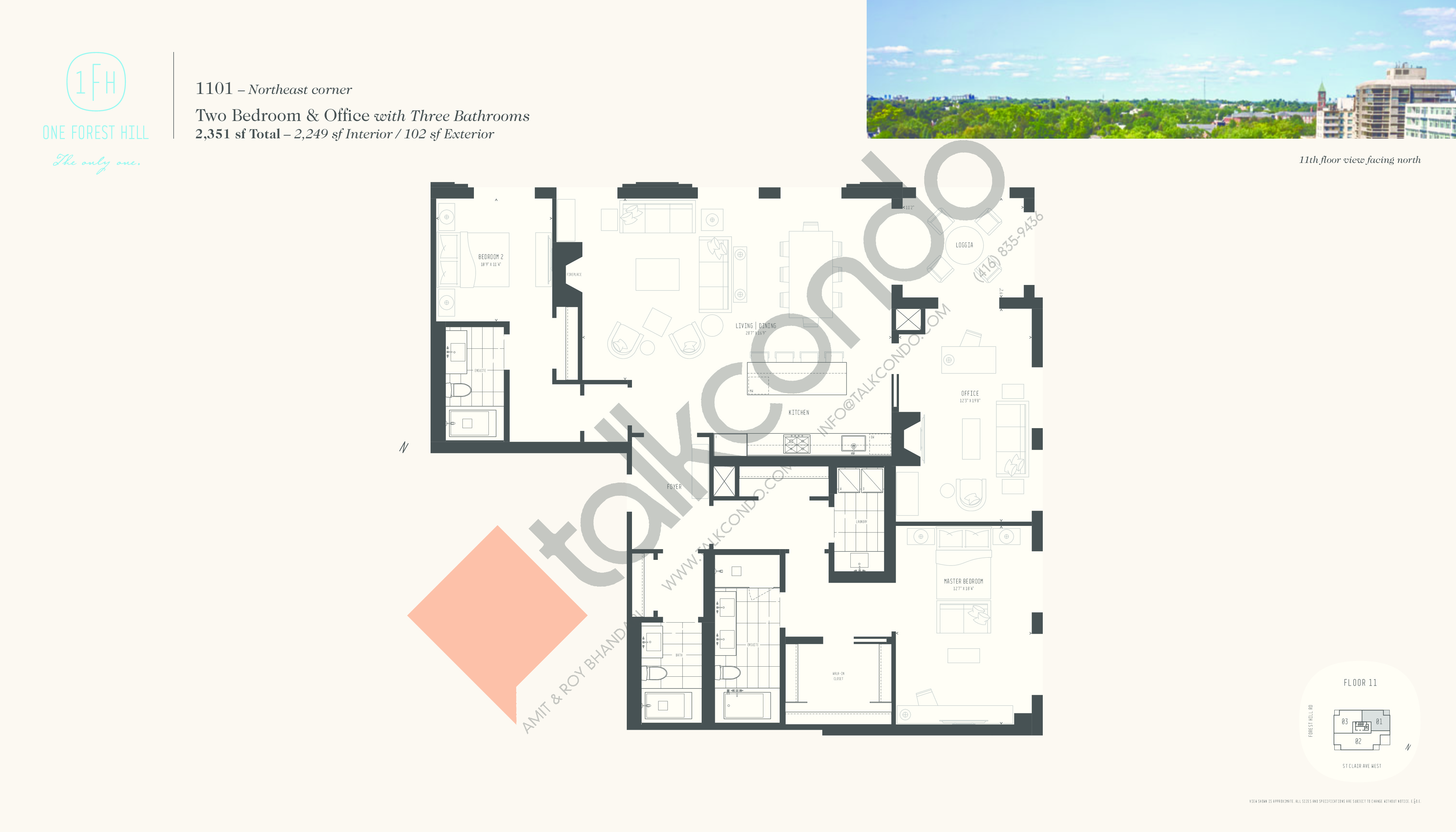 1101 Floor Plan at One Forest Hill Condos - 2249 sq.ft