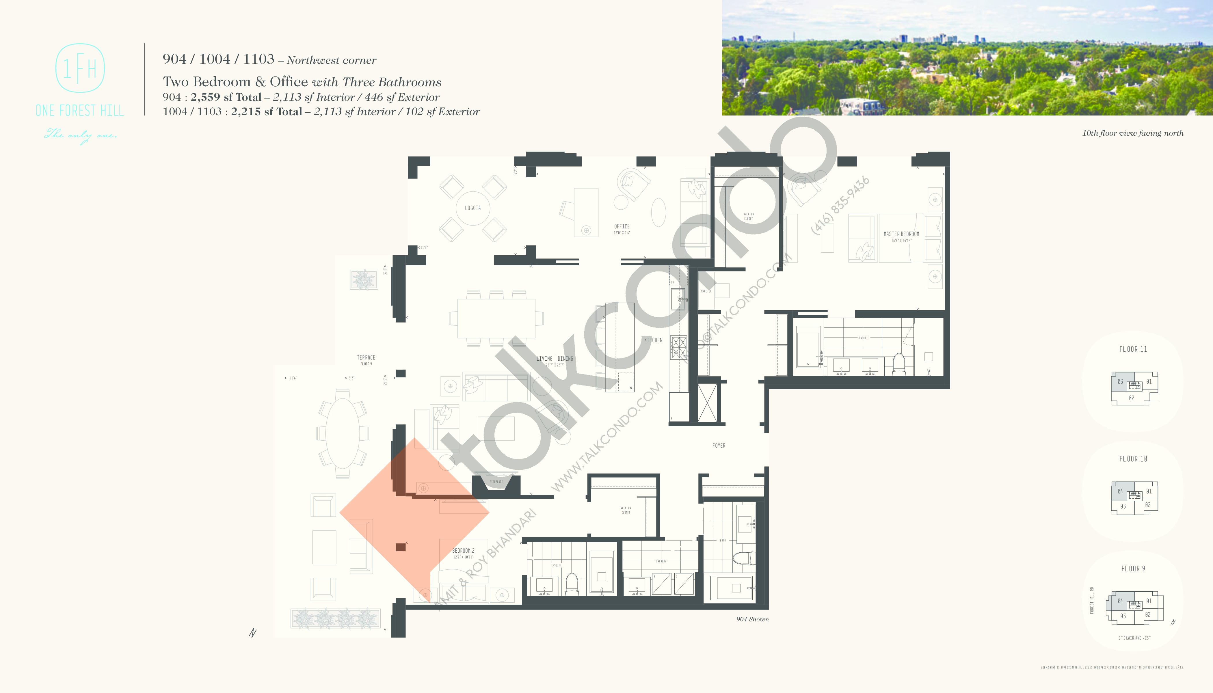 904 / 1004 / 1103 Floor Plan at One Forest Hill Condos - 2113 sq.ft