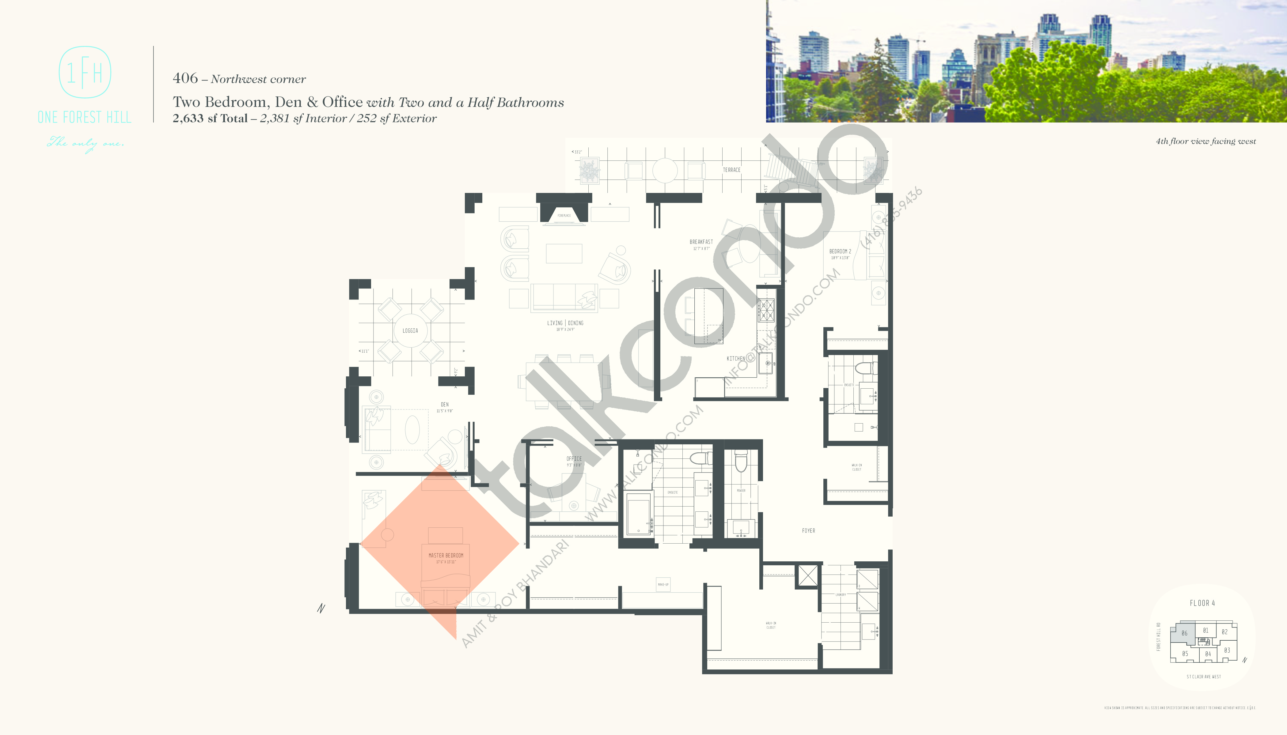 406 Floor Plan at One Forest Hill Condos - 2381 sq.ft
