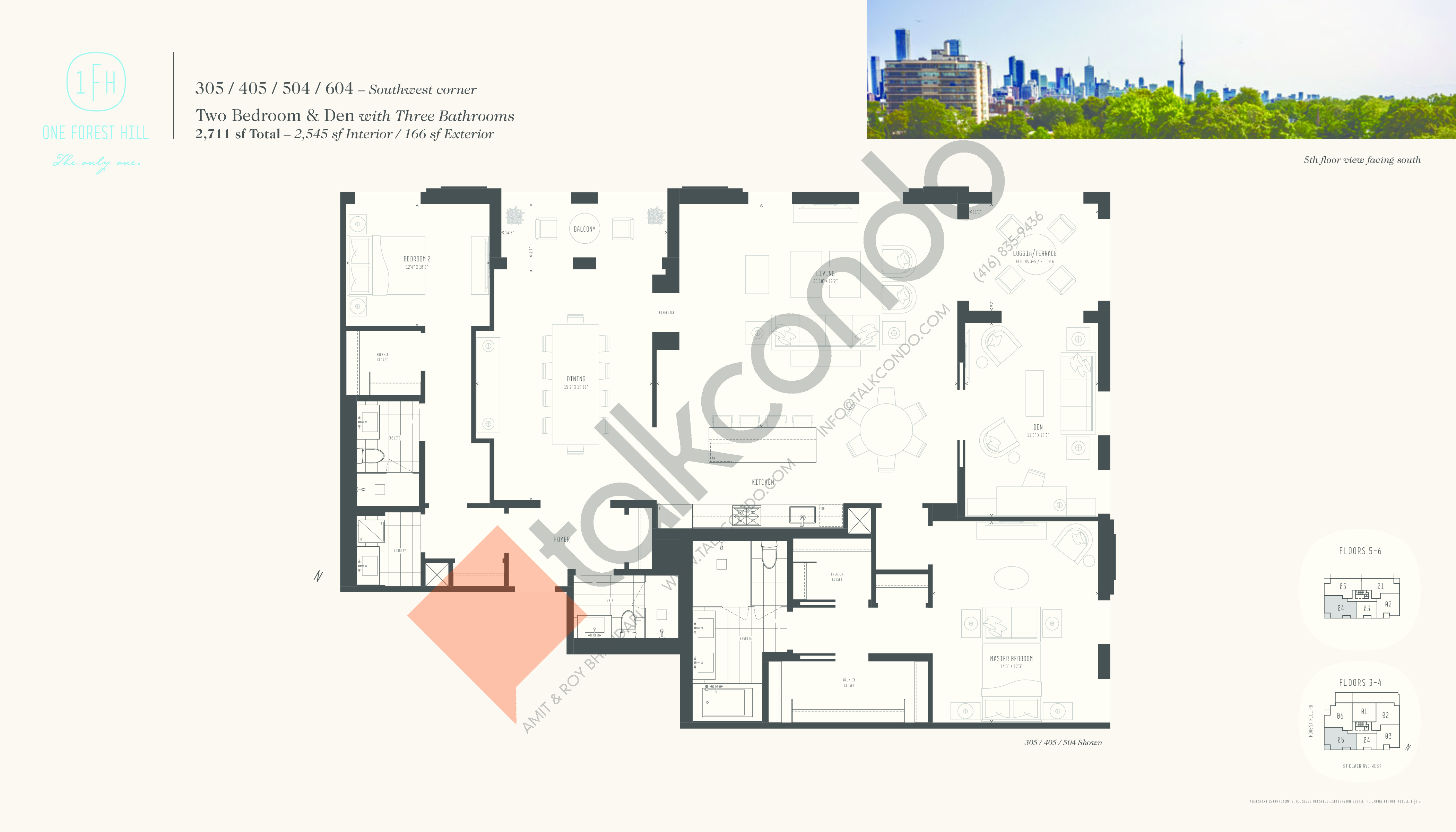 305 / 405 / 504 / 604 Floor Plan at One Forest Hill Condos - 2545 sq.ft
