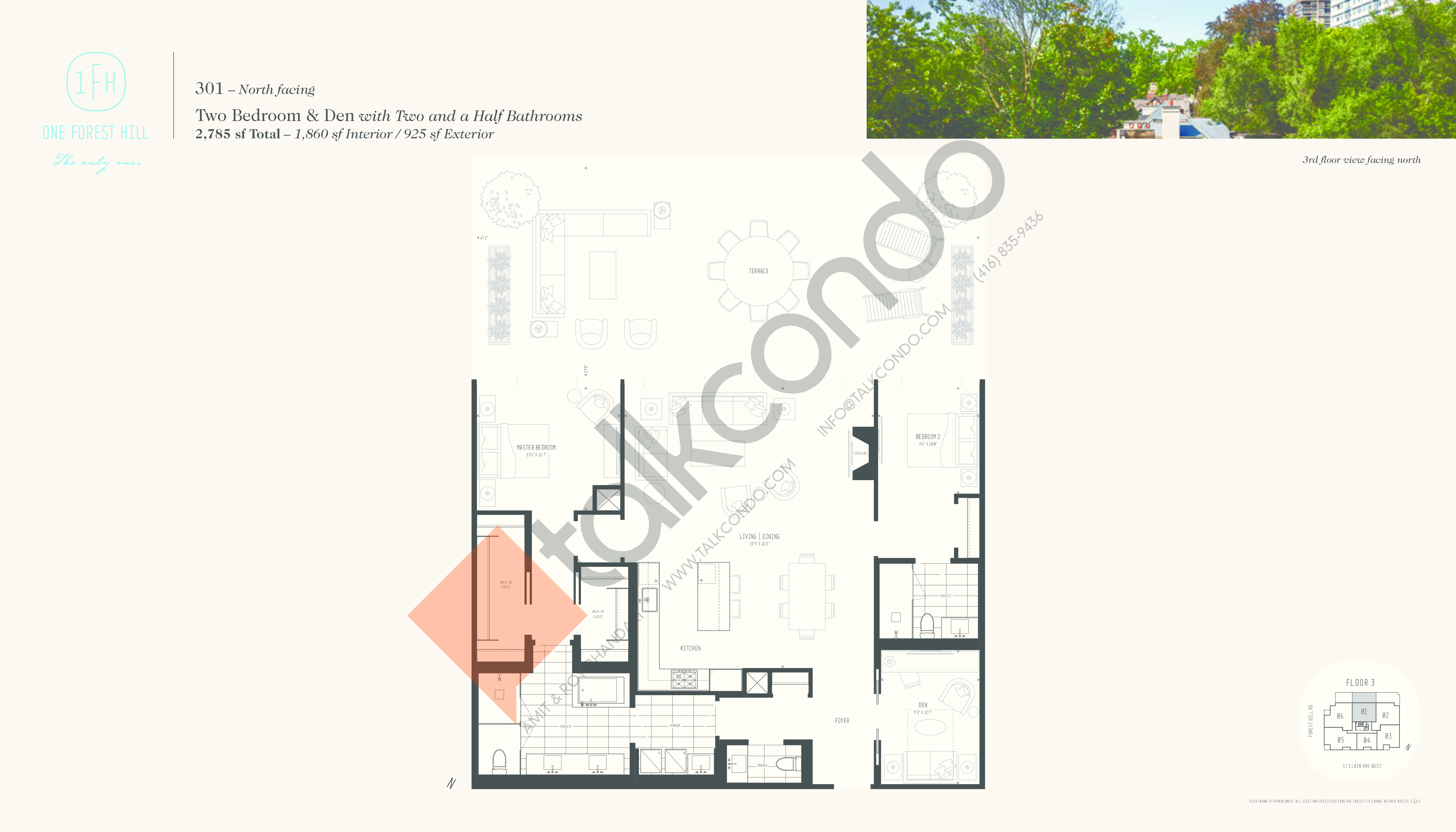 301 Floor Plan at One Forest Hill Condos - 1860 sq.ft