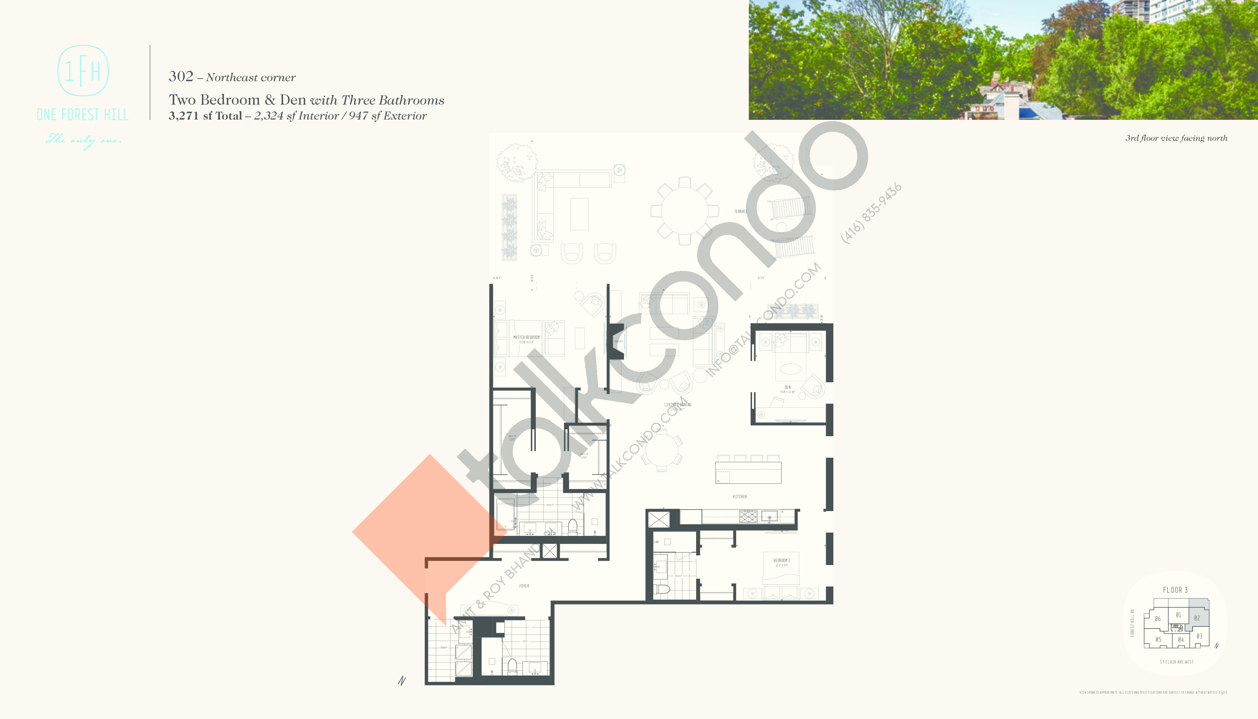 302 Floor Plan at One Forest Hill Condos - 2324 sq.ft