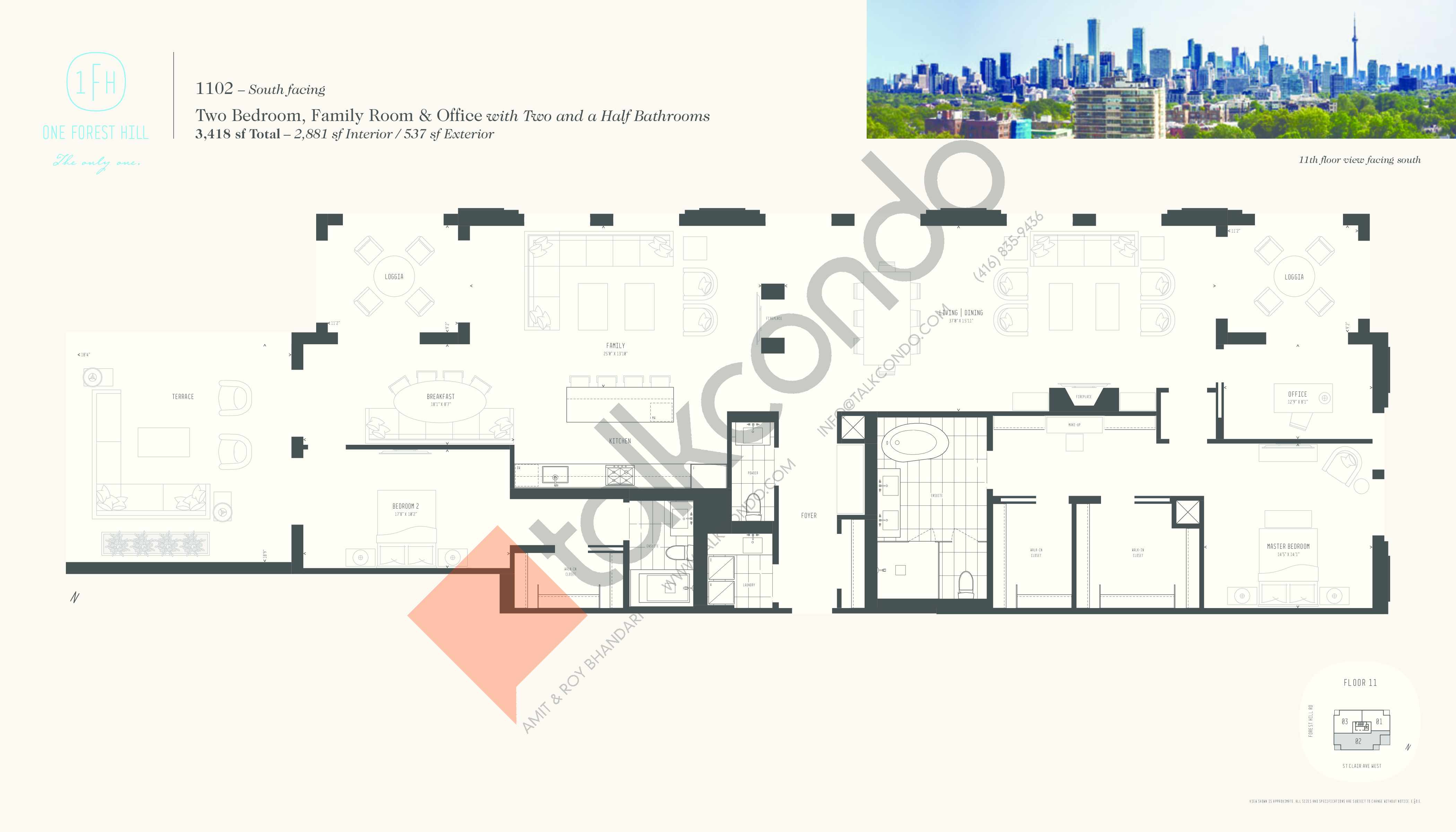1102 Floor Plan at One Forest Hill Condos - 2881 sq.ft