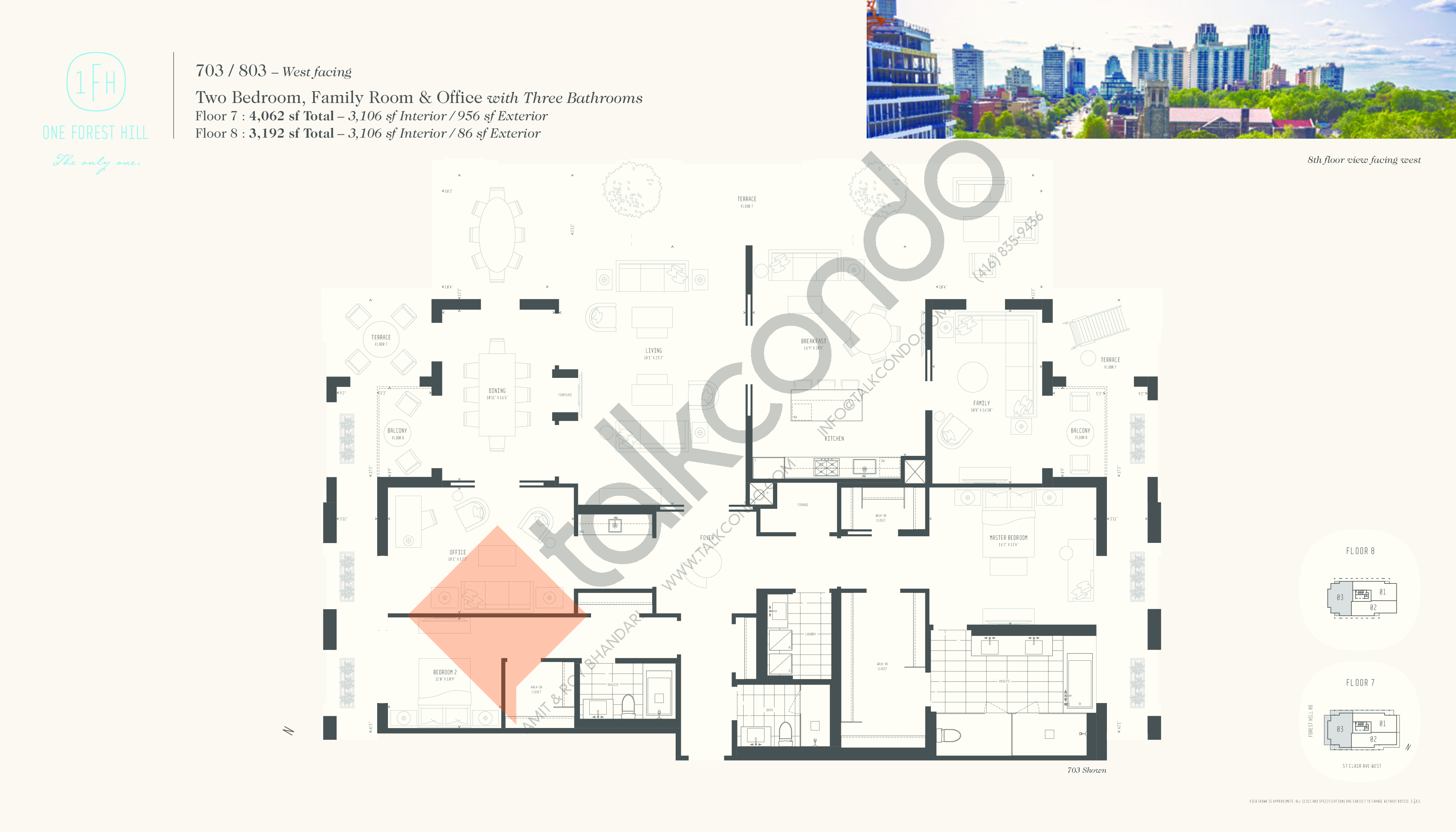 703 / 803 Floor Plan at One Forest Hill Condos - 3106 sq.ft