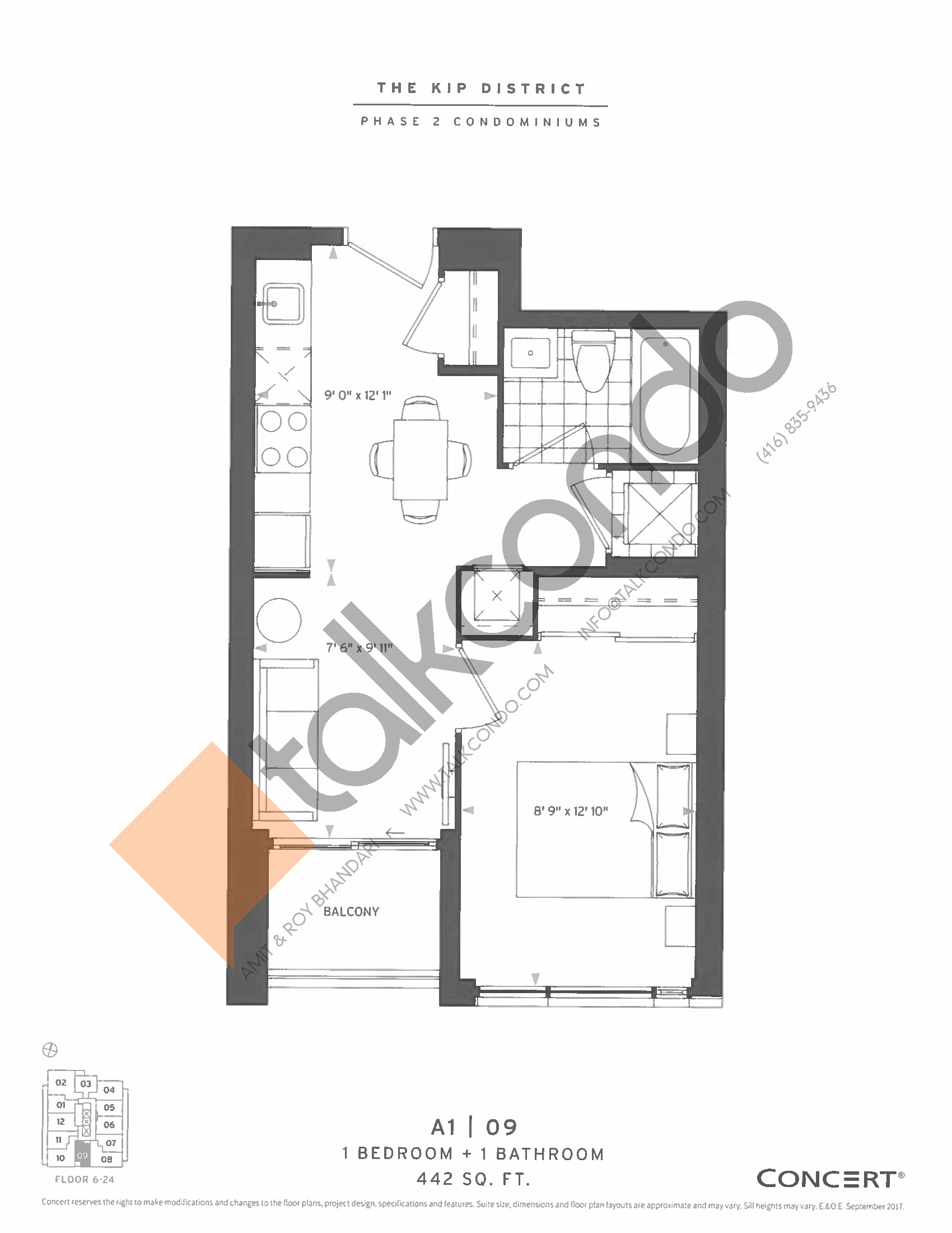 A1 | 09 Floor Plan at The Kip District Phase 2 Condos - 442 sq.ft