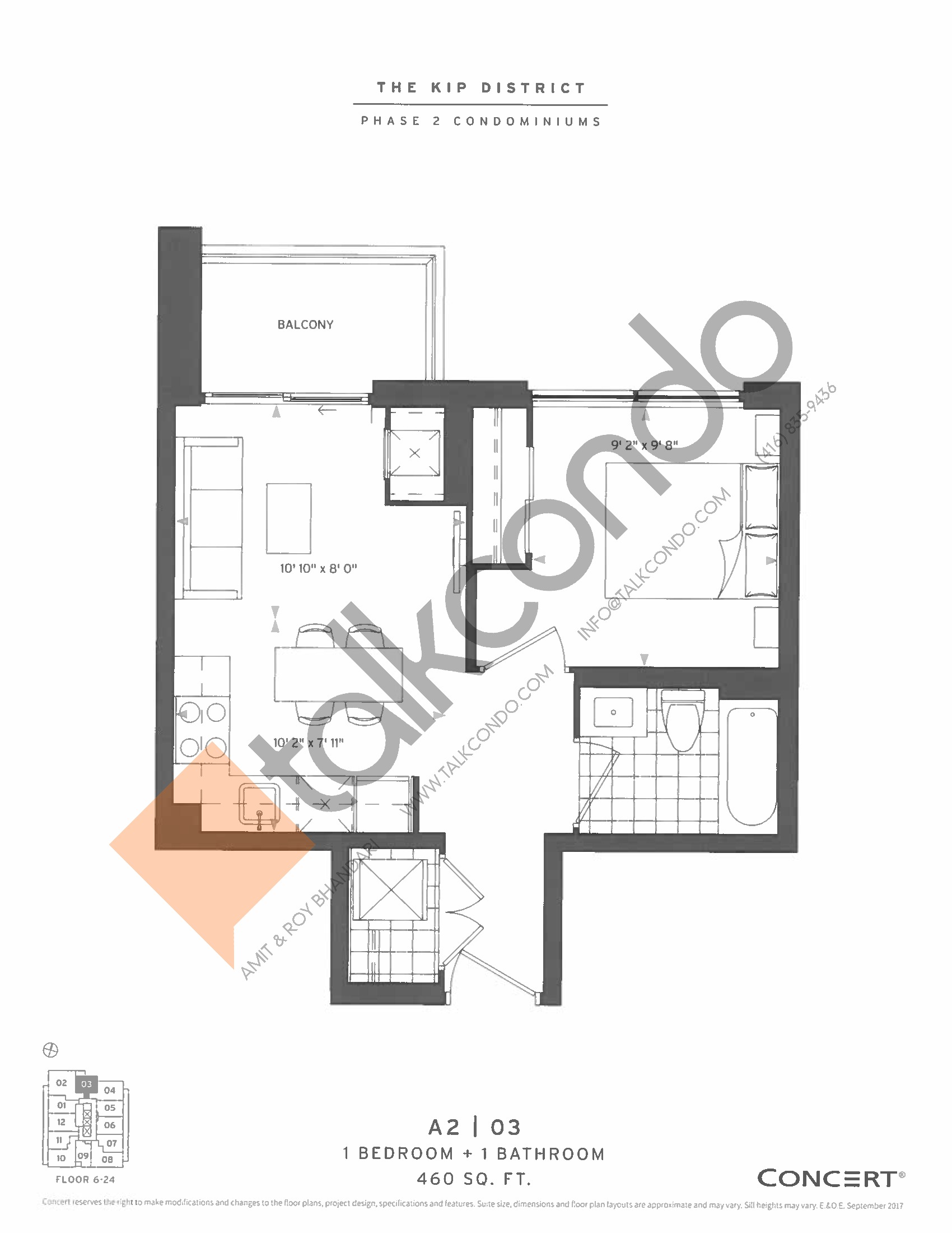 A2   03 Floor Plan at The Kip District Phase 2 Condos - 460 sq.ft
