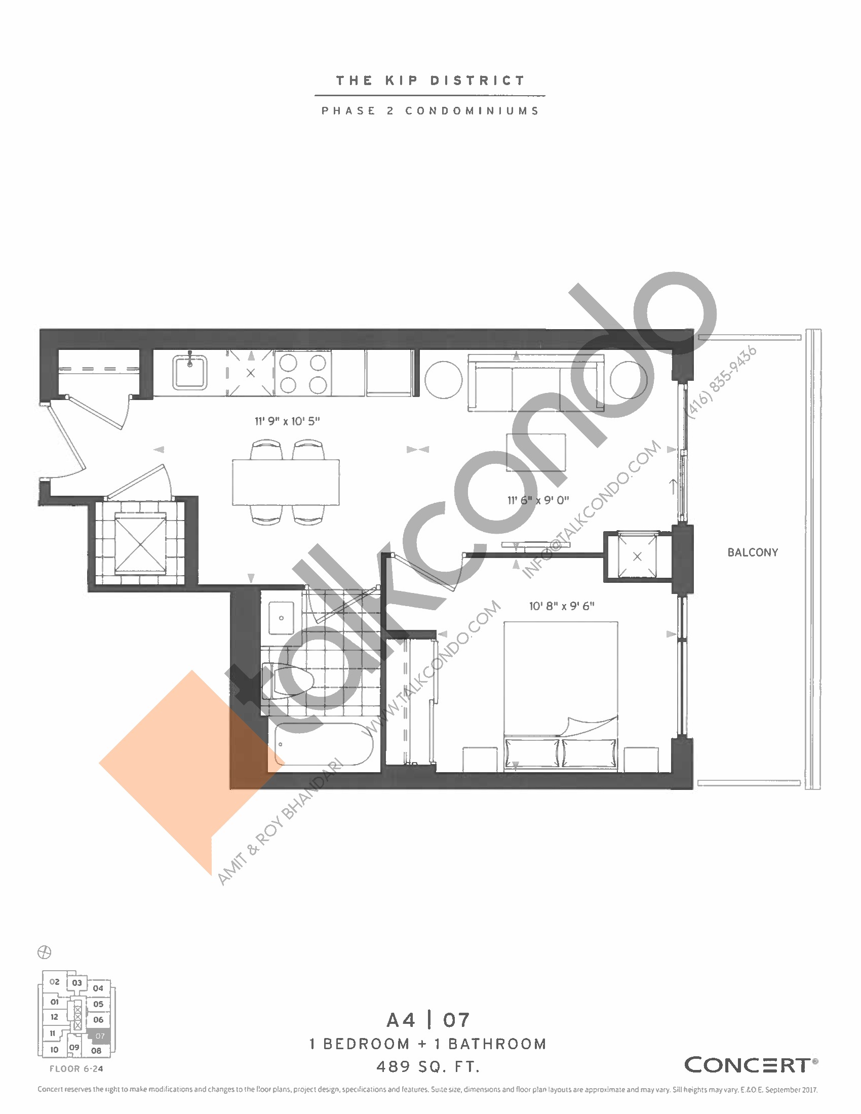 A4 | 07 Floor Plan at The Kip District Phase 2 Condos - 489 sq.ft