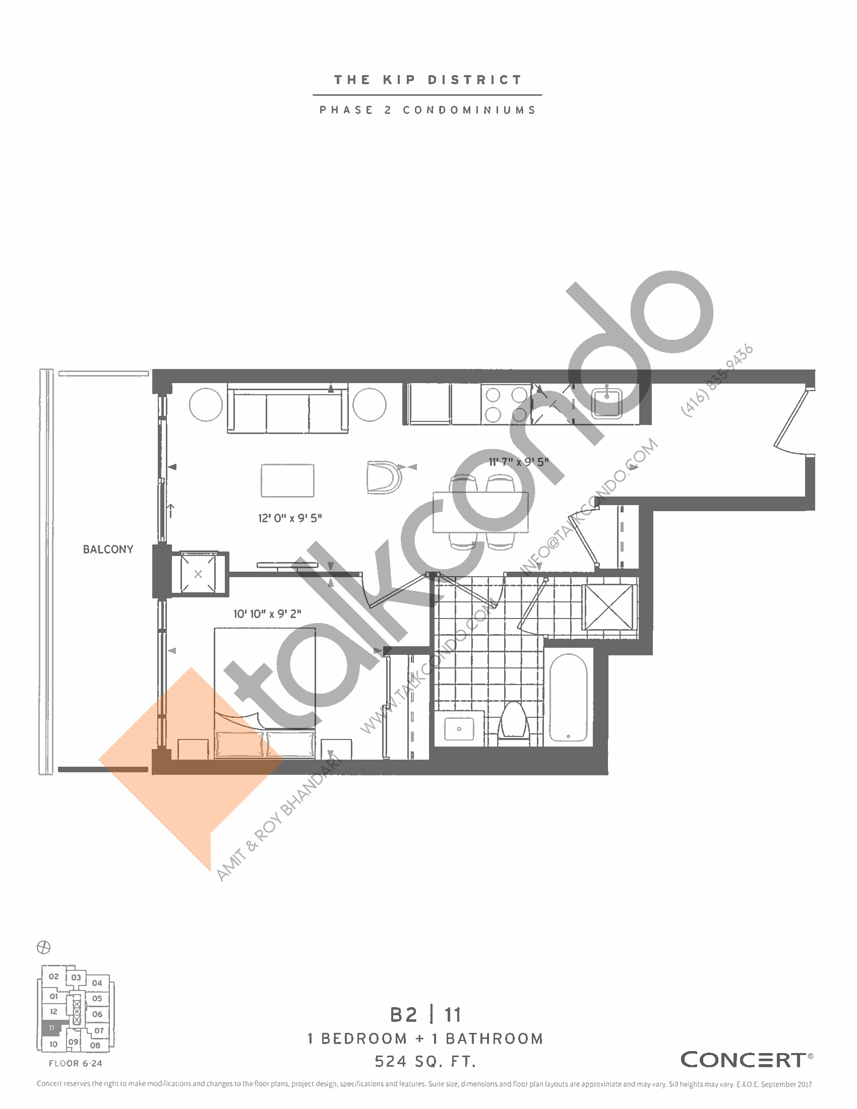 B2 | 11 Floor Plan at The Kip District Phase 2 Condos - 524 sq.ft