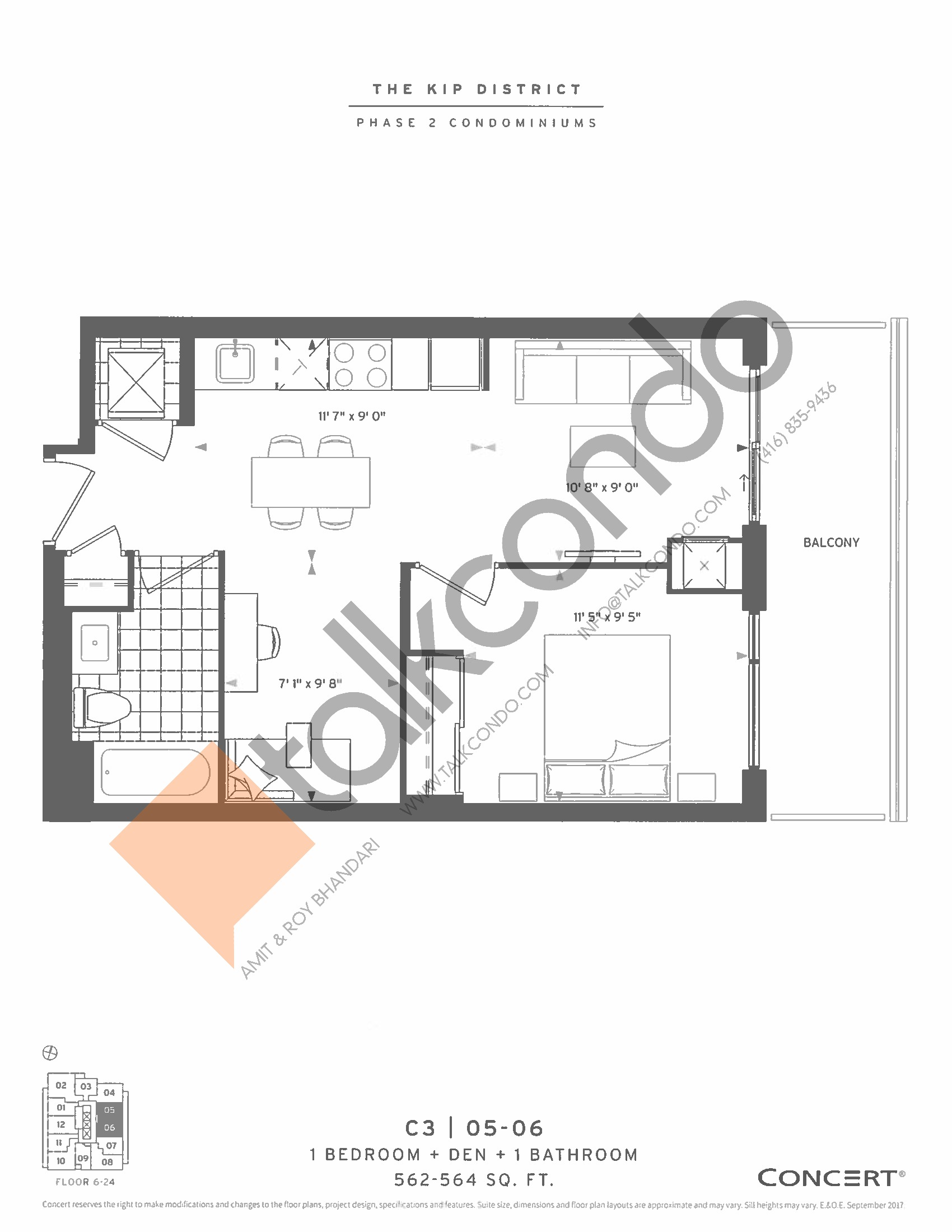 C3 | 05-06 Floor Plan at The Kip District Phase 2 Condos - 564 sq.ft