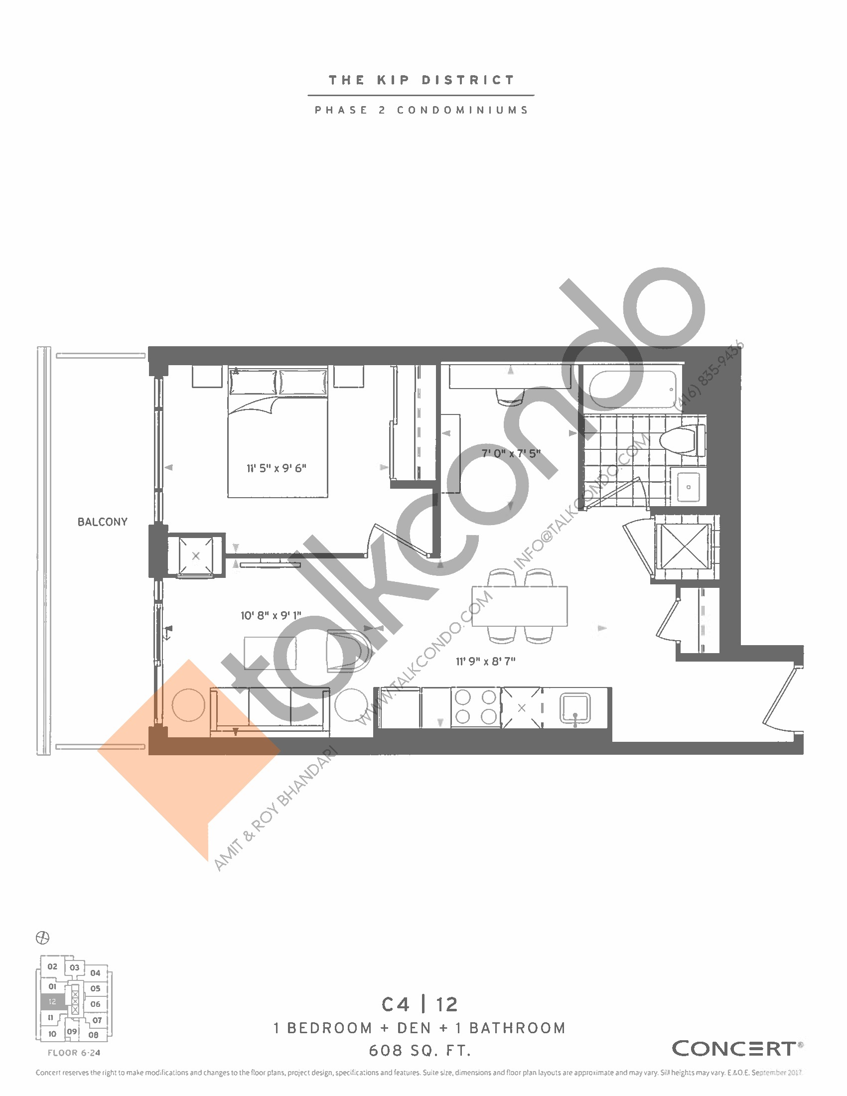 C4 | 12 Floor Plan at The Kip District Phase 2 Condos - 608 sq.ft