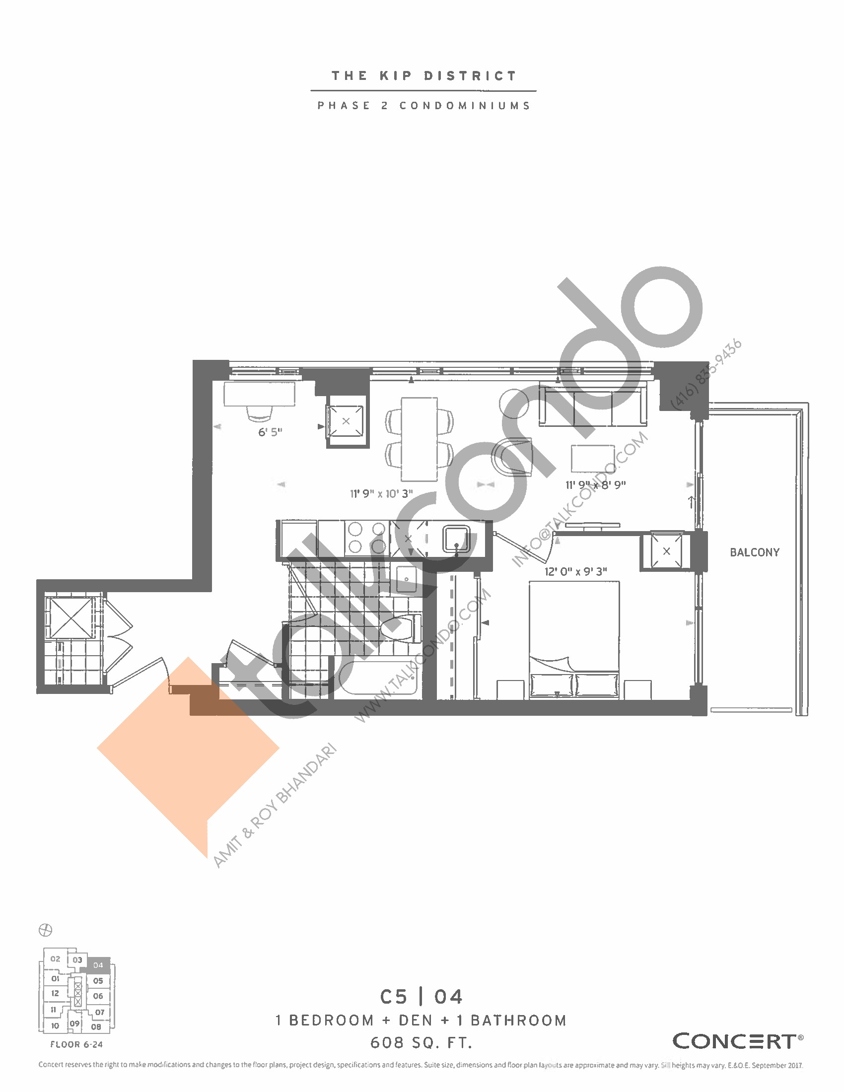 C5 | 04 Floor Plan at The Kip District Phase 2 Condos - 608 sq.ft