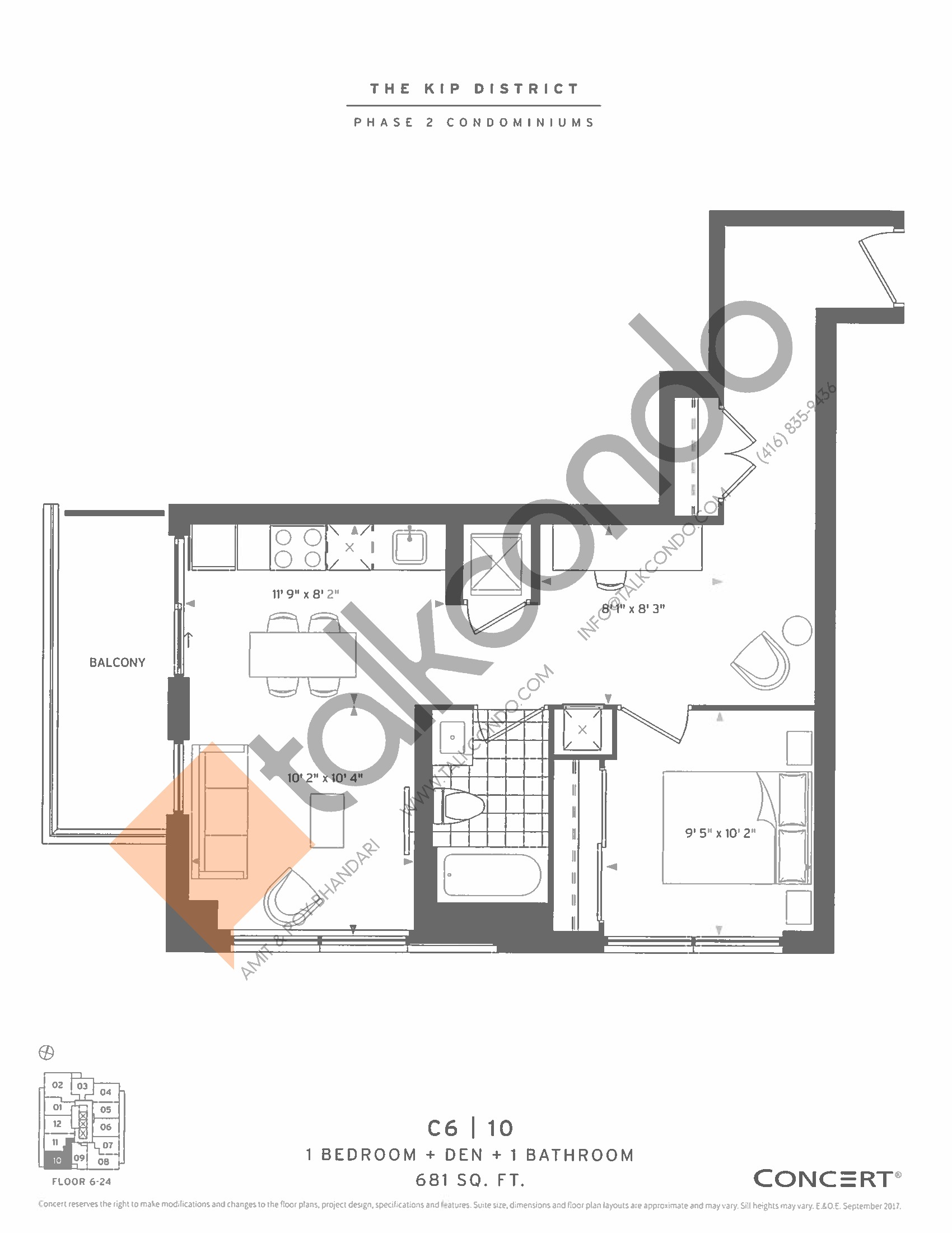 C6 | 10 Floor Plan at The Kip District Phase 2 Condos - 681 sq.ft