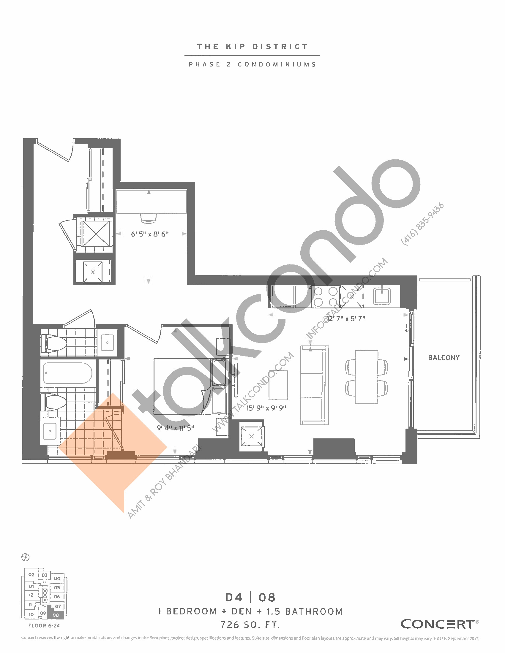 D4 | 08 Floor Plan at The Kip District Phase 2 Condos - 726 sq.ft
