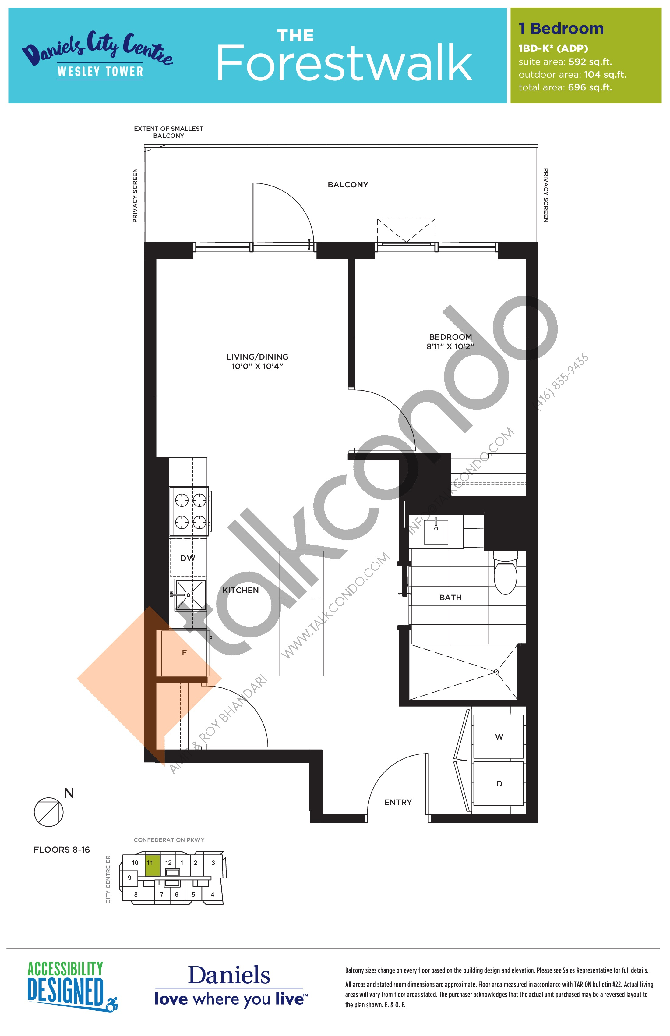 The Forestwalk Floor Plan at The Wesley Tower at Daniels City Centre Condos - 592 sq.ft