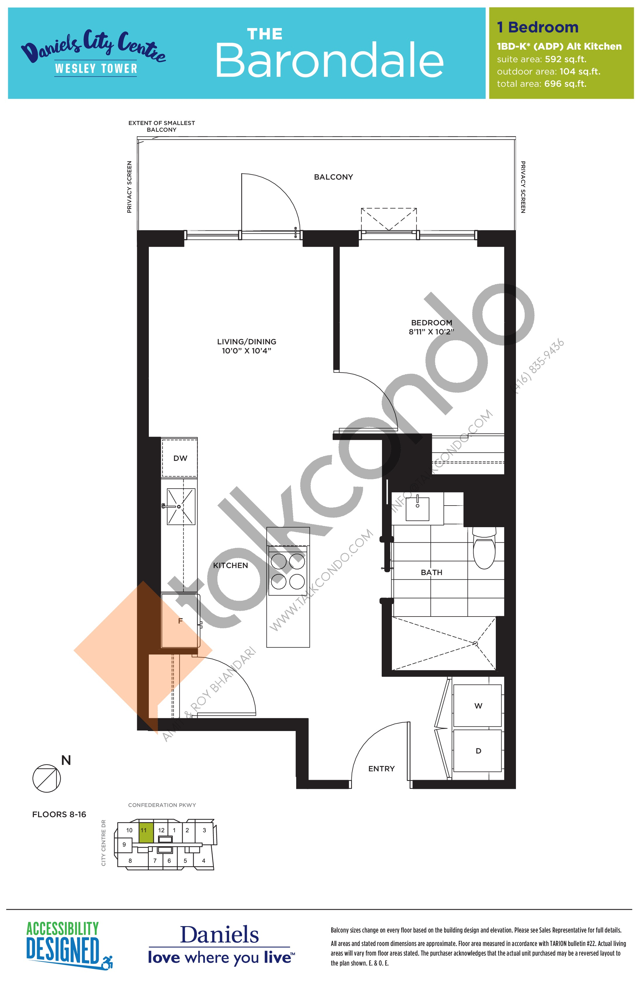 The Barondale Floor Plan at The Wesley Tower at Daniels City Centre Condos - 592 sq.ft