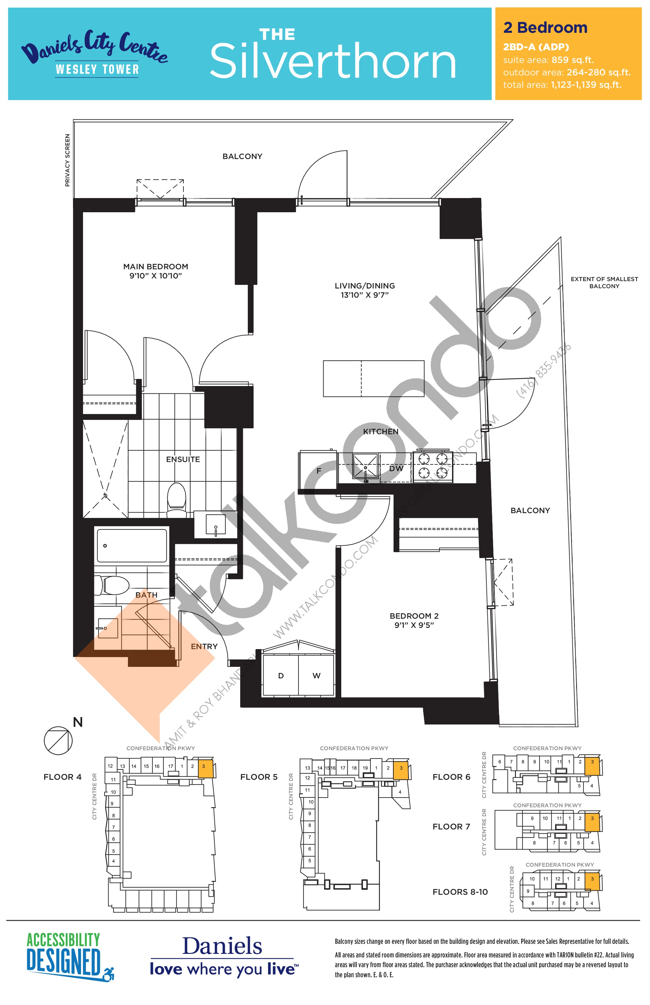 The Silverthorn Floor Plan at The Wesley Tower at Daniels City Centre Condos - 859 sq.ft